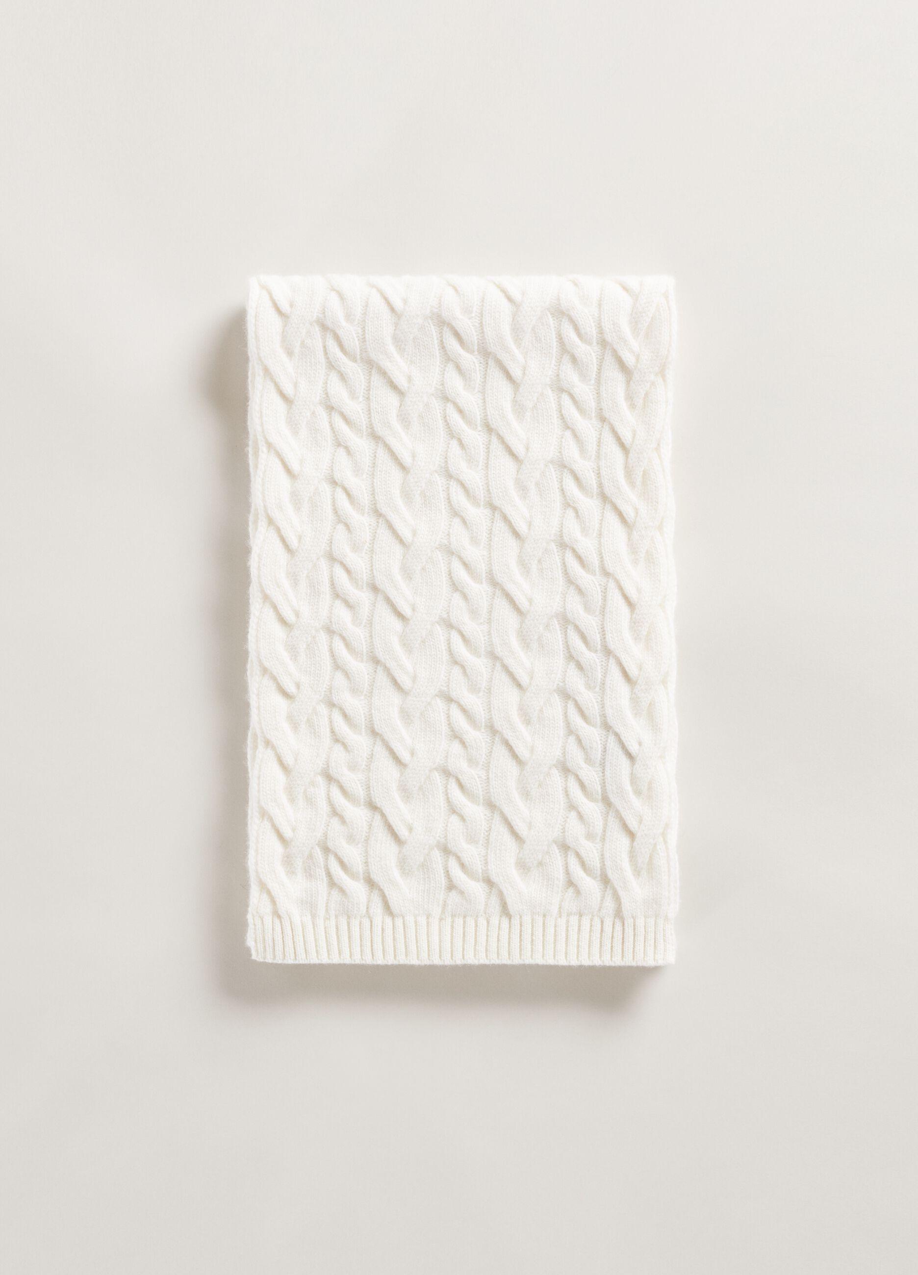 Sciarpa in lana e cachemire a trecce Bianco