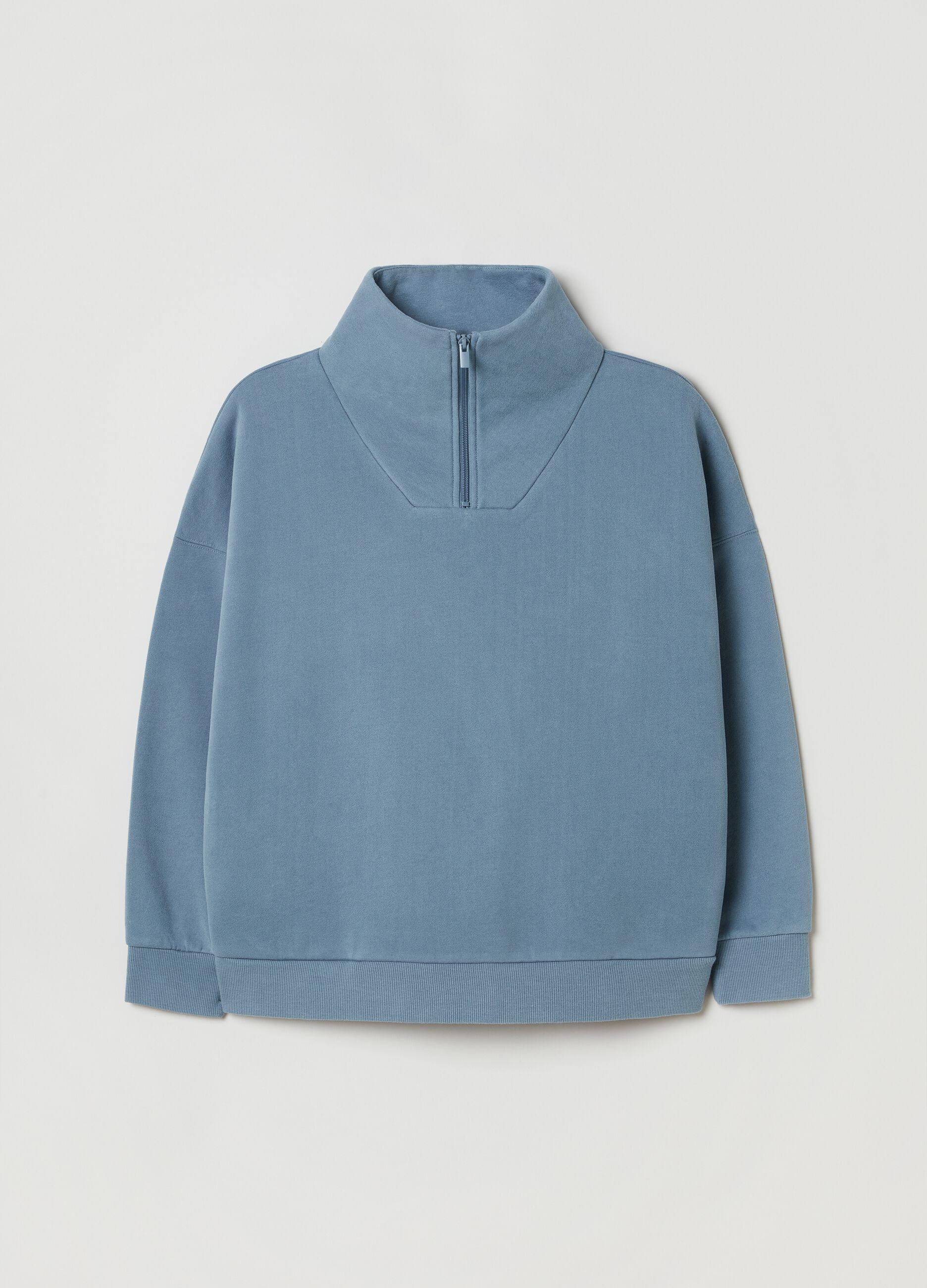 Felpa a collo alto con mezza zip Blu