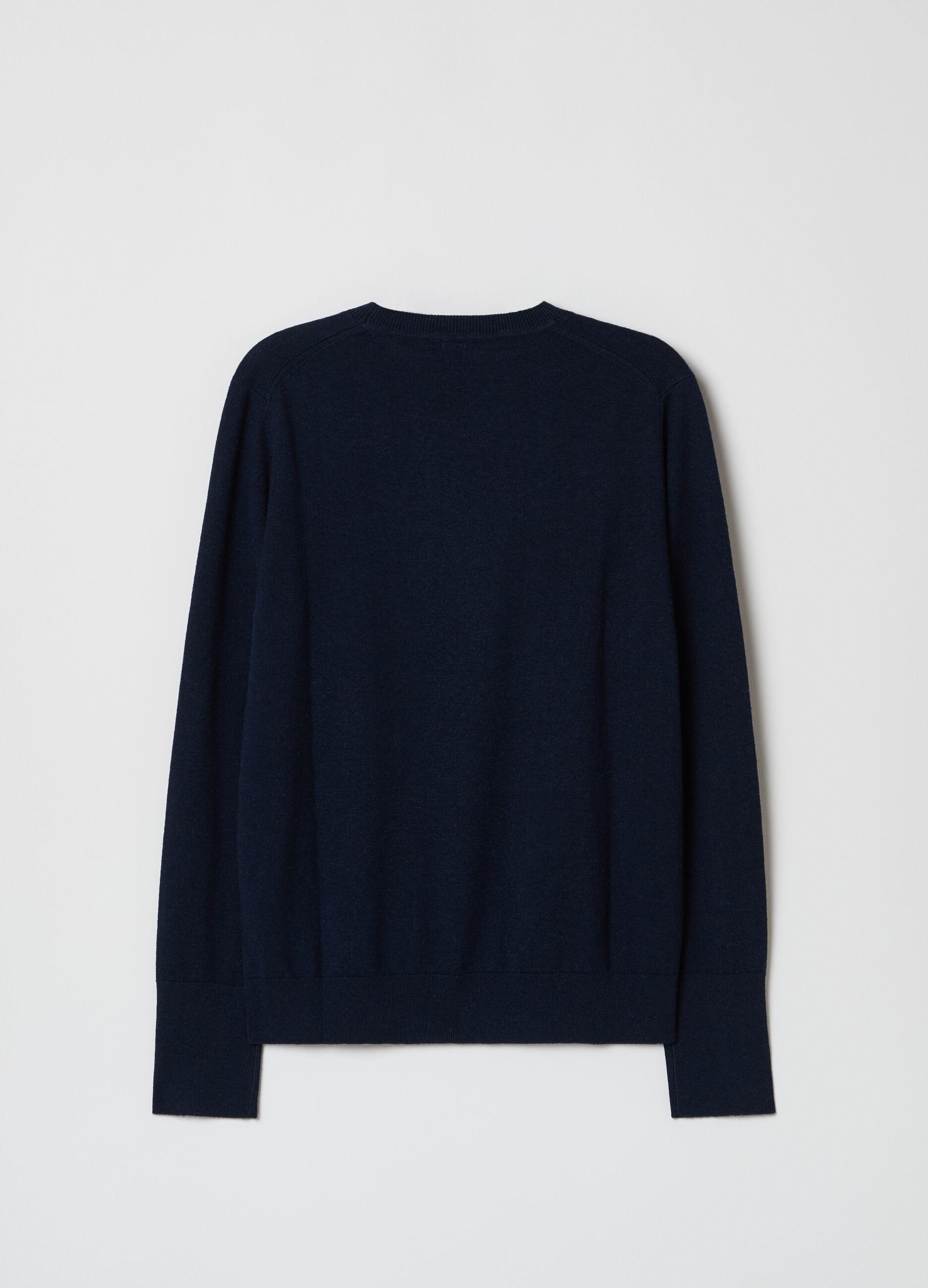 Pullover girocollo in lana e seta Blu