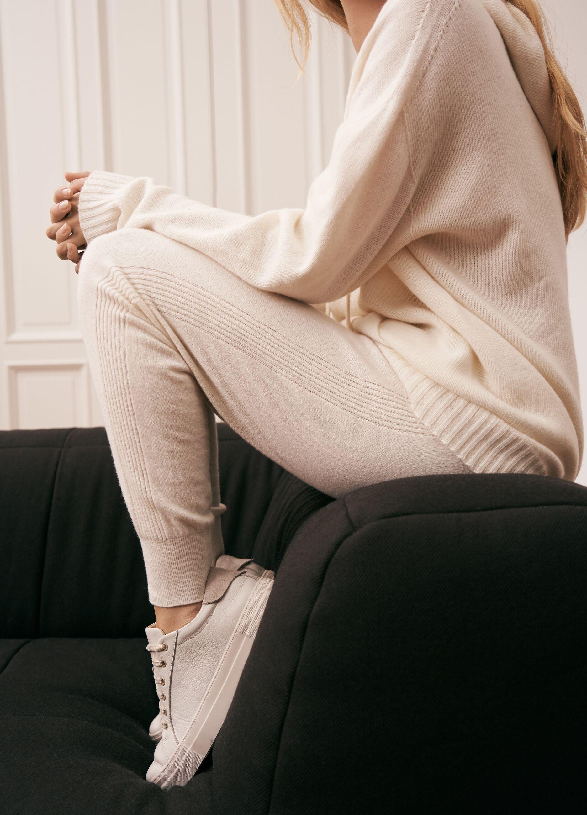 Joggers in maglia di lana e cachemire Bianco