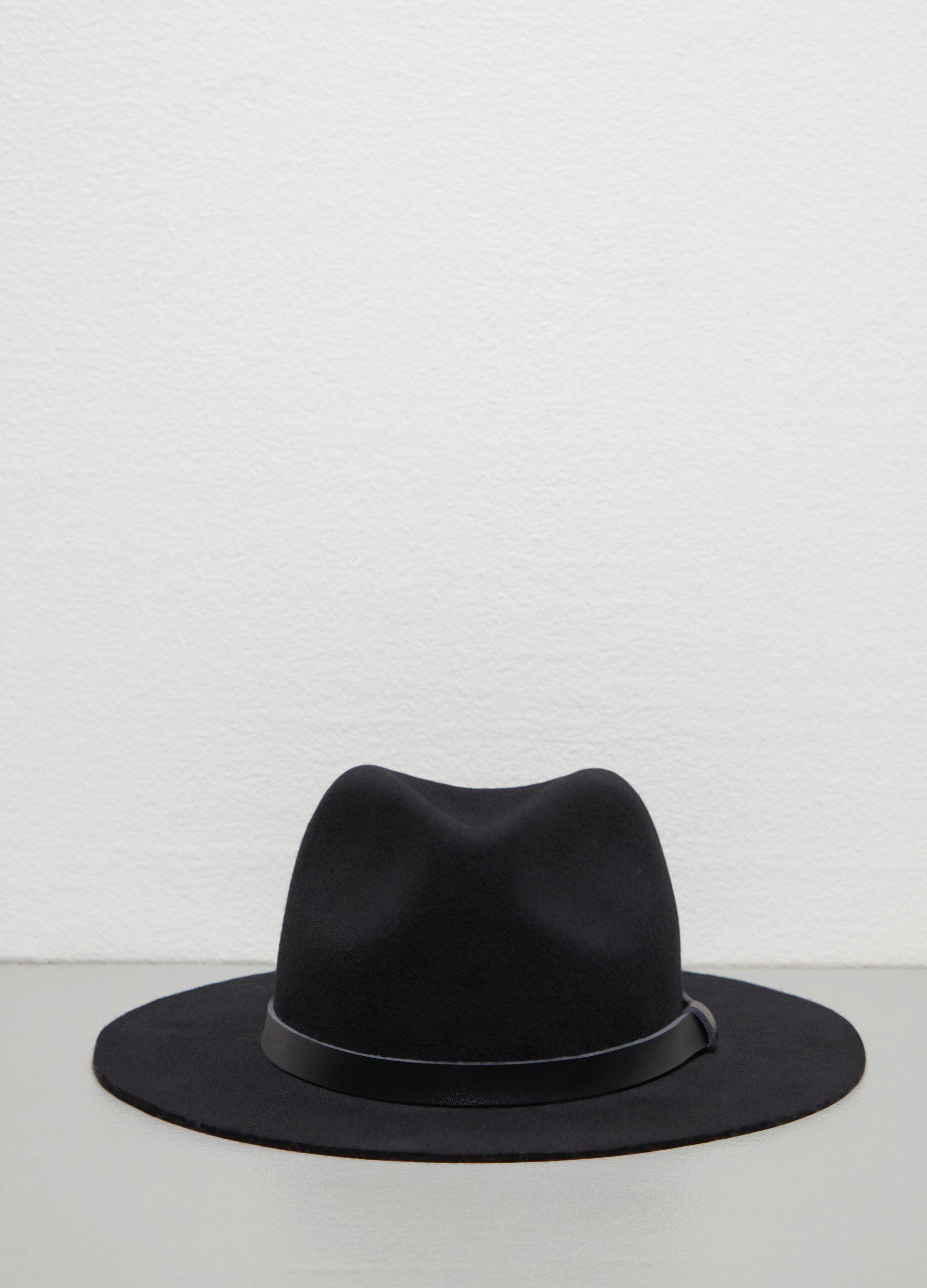 Cappello fedora in pura lana Nero