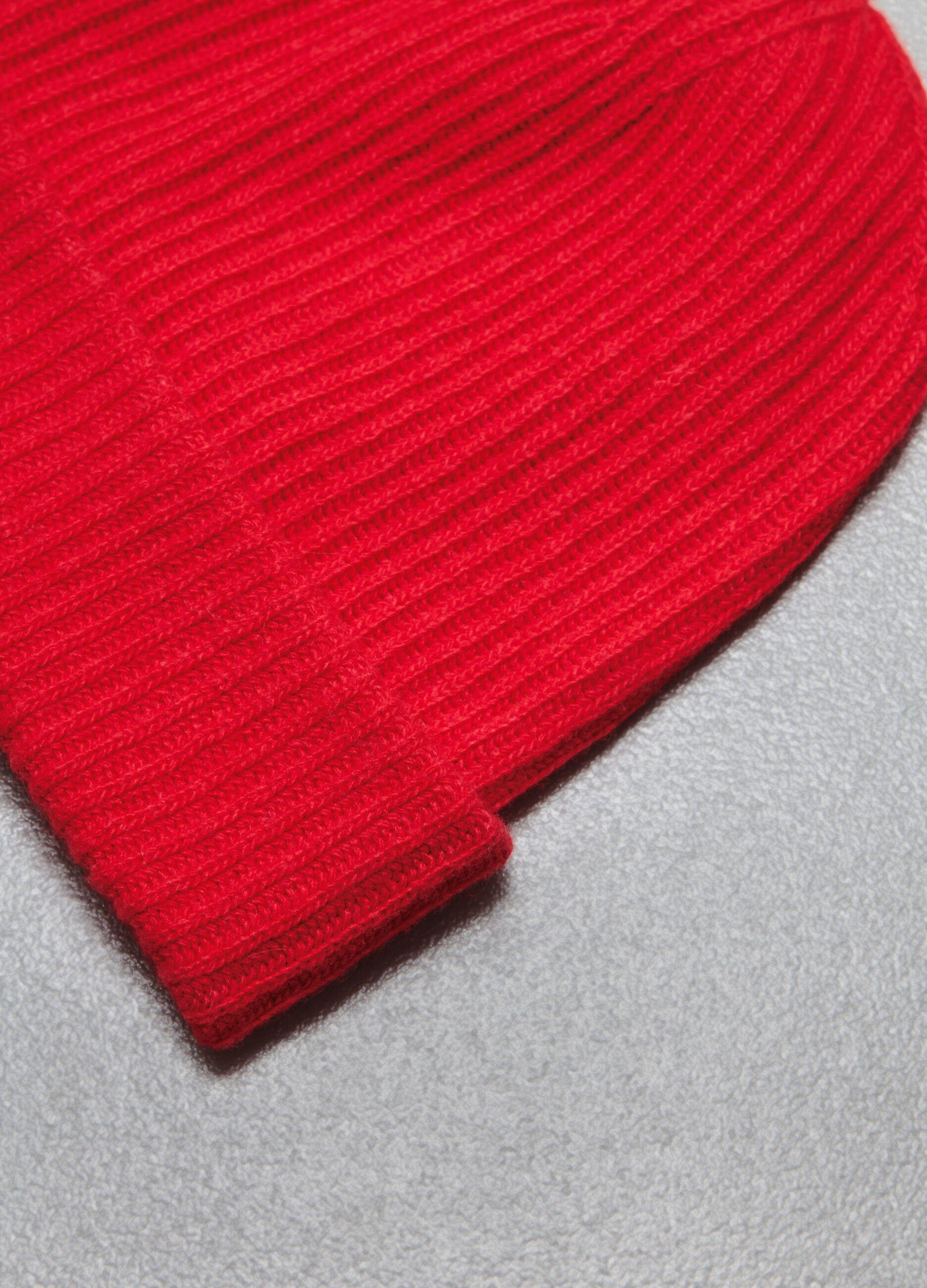 Berretto in lana e cachemire a coste Rosso