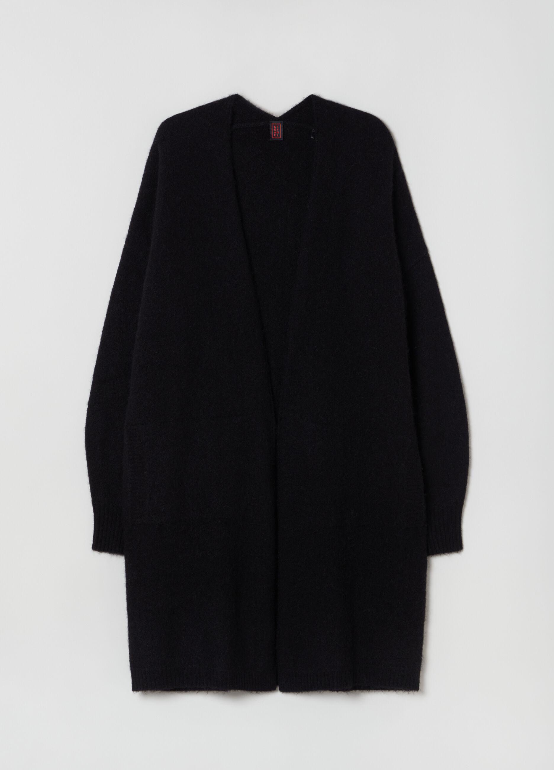 Cardigan lungo in lana a e alpaca Nero