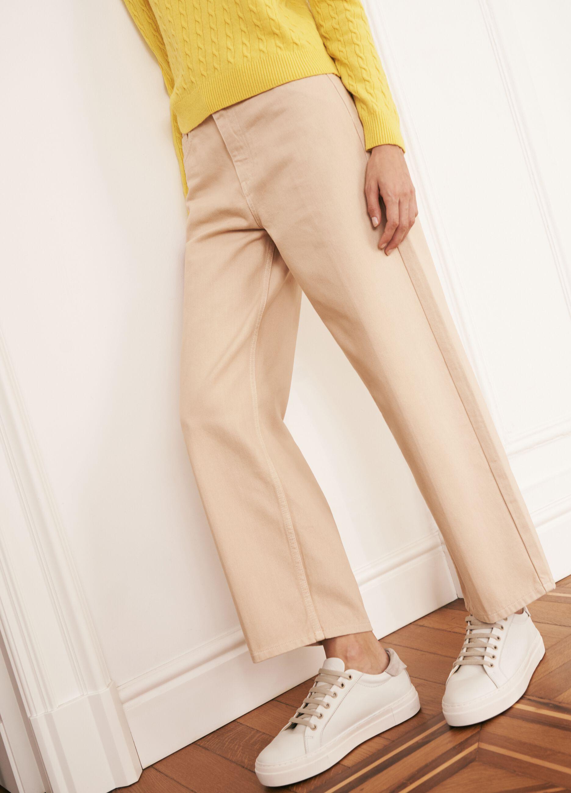 Pantalone in twill di cotone stretch Beige