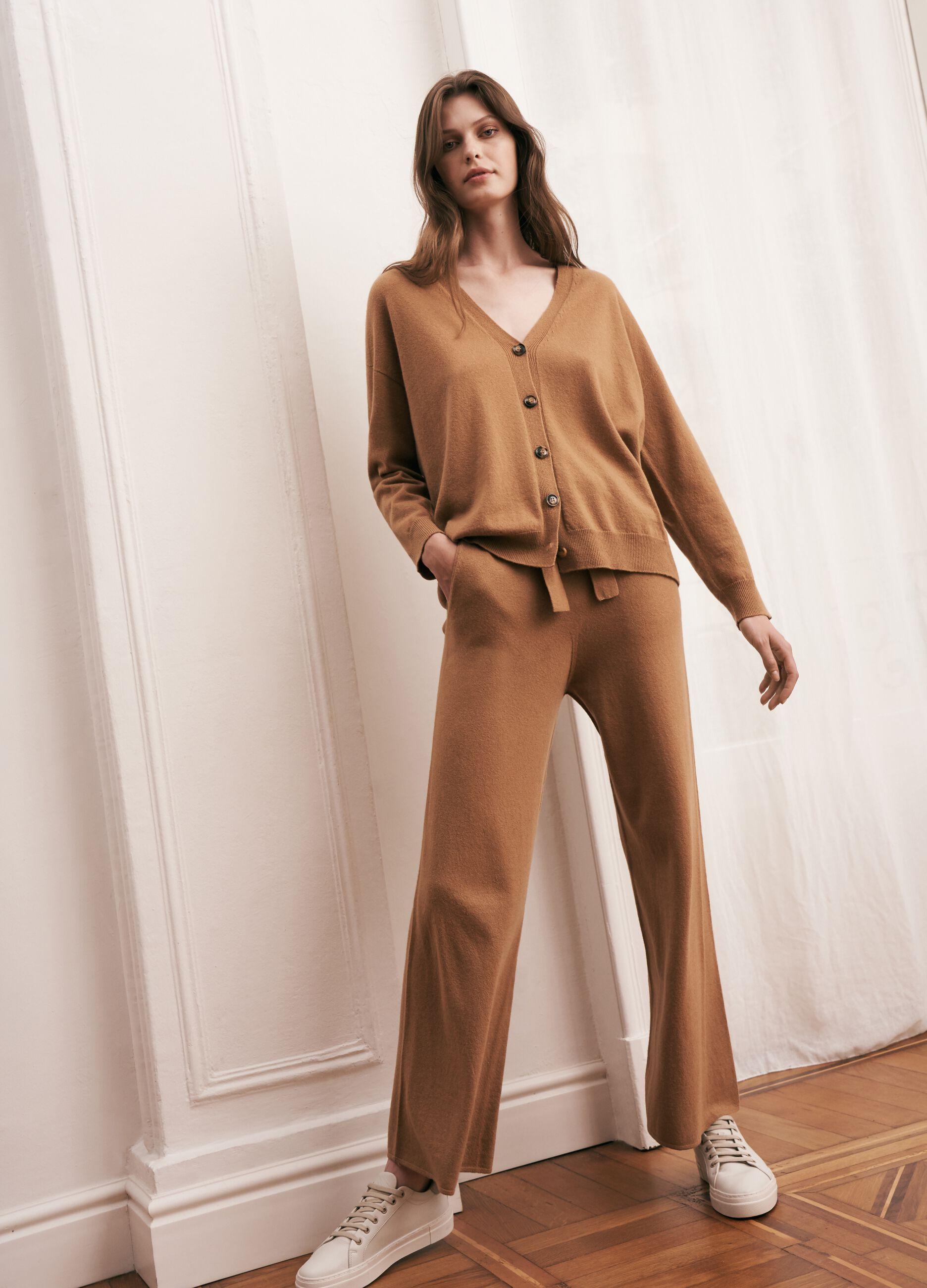 Pantalone in maglia di lana e cachemire Marrone