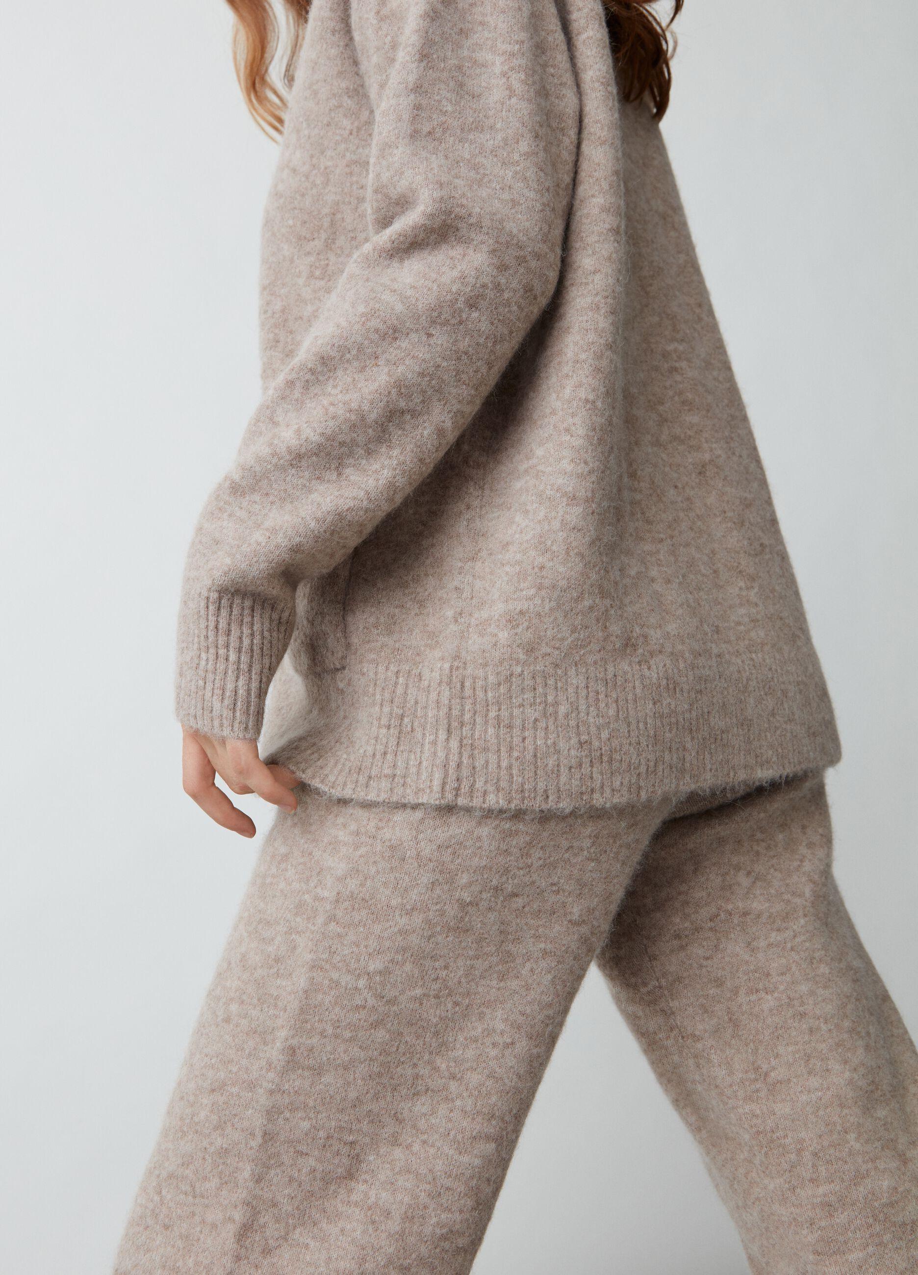Cardigan over in lana a e alpaca Beige
