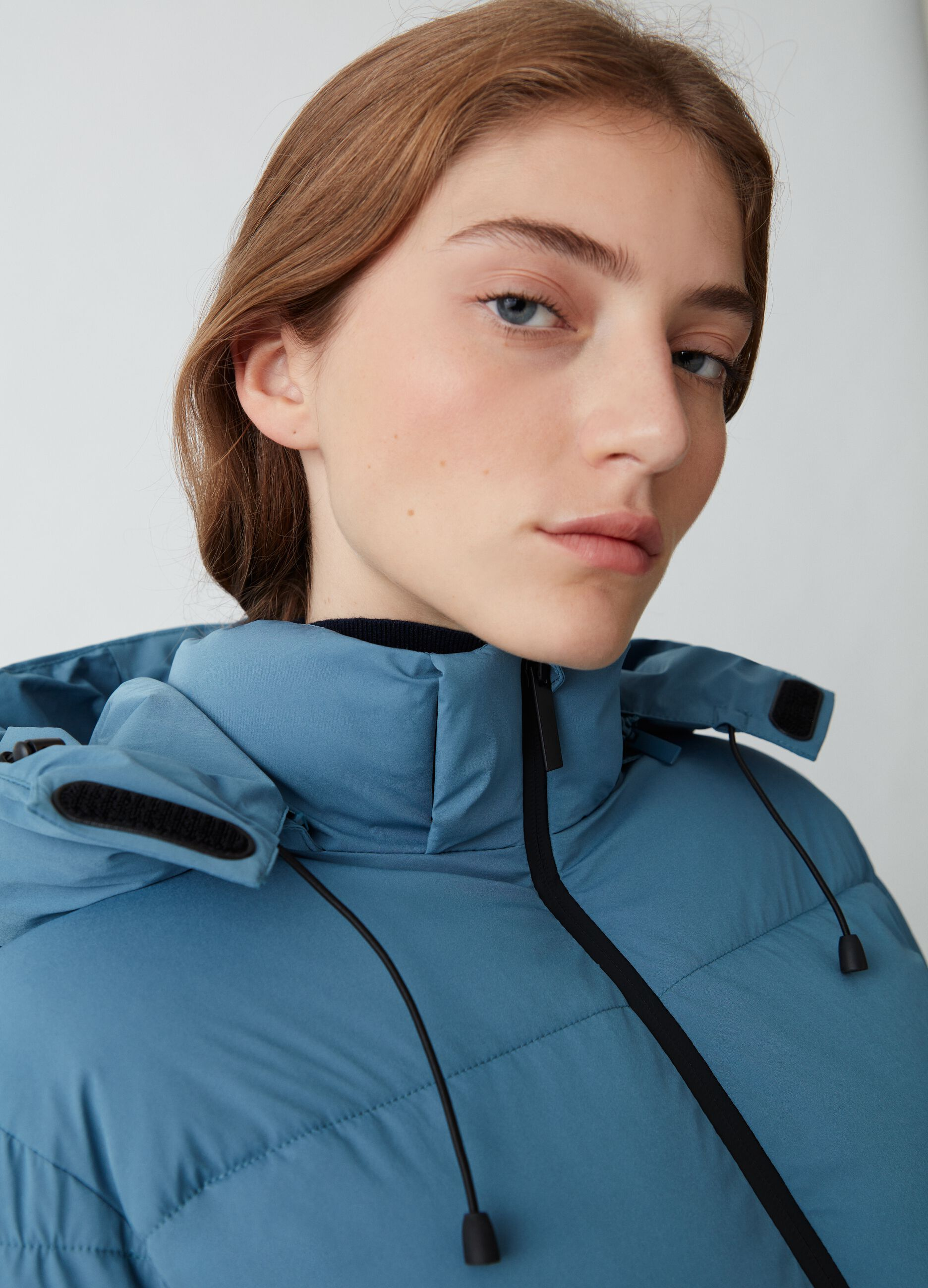 Quilted jacket with hood Blue
