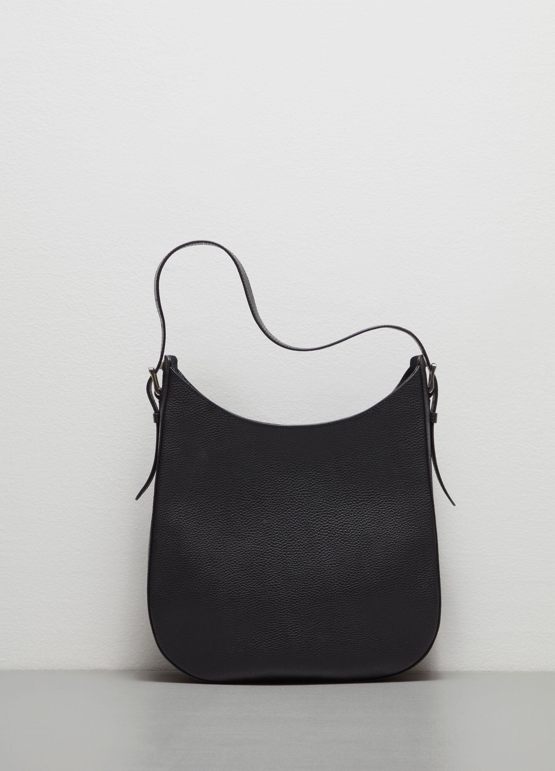 Textured leather shoulder bag Black