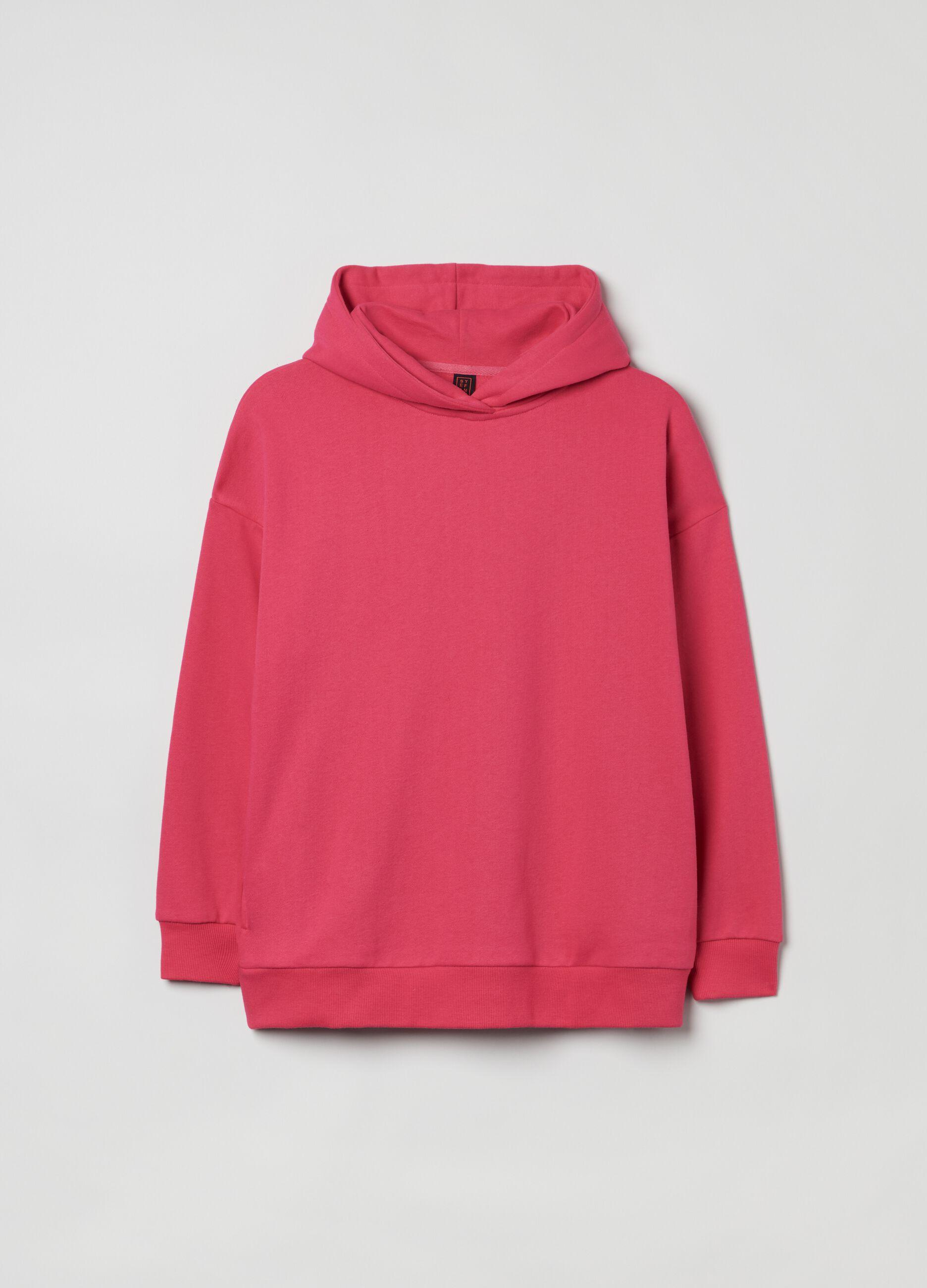 Felpa over con cappuccio bold color Rosa