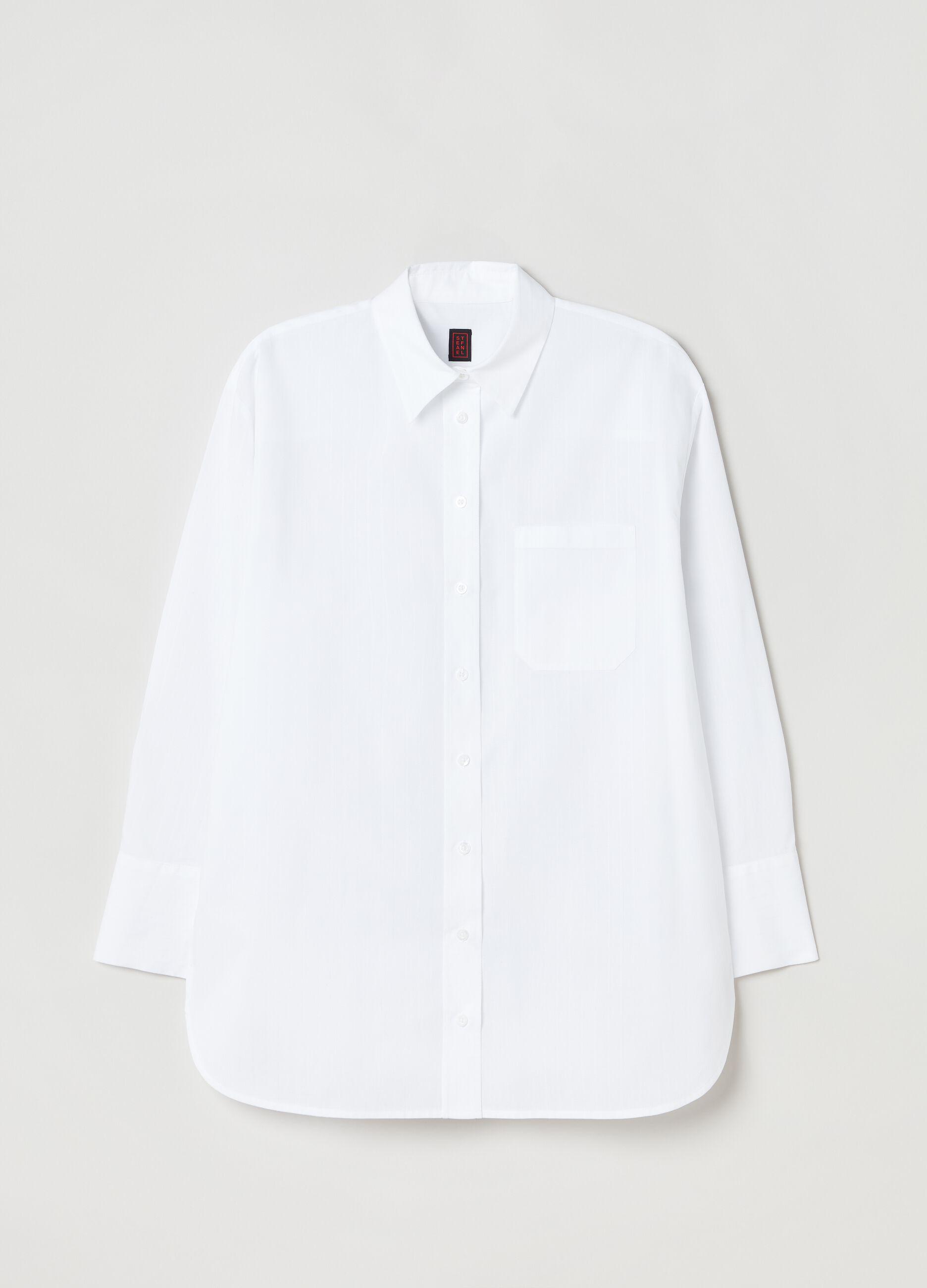Camicia over in popeline con tasca Bianco
