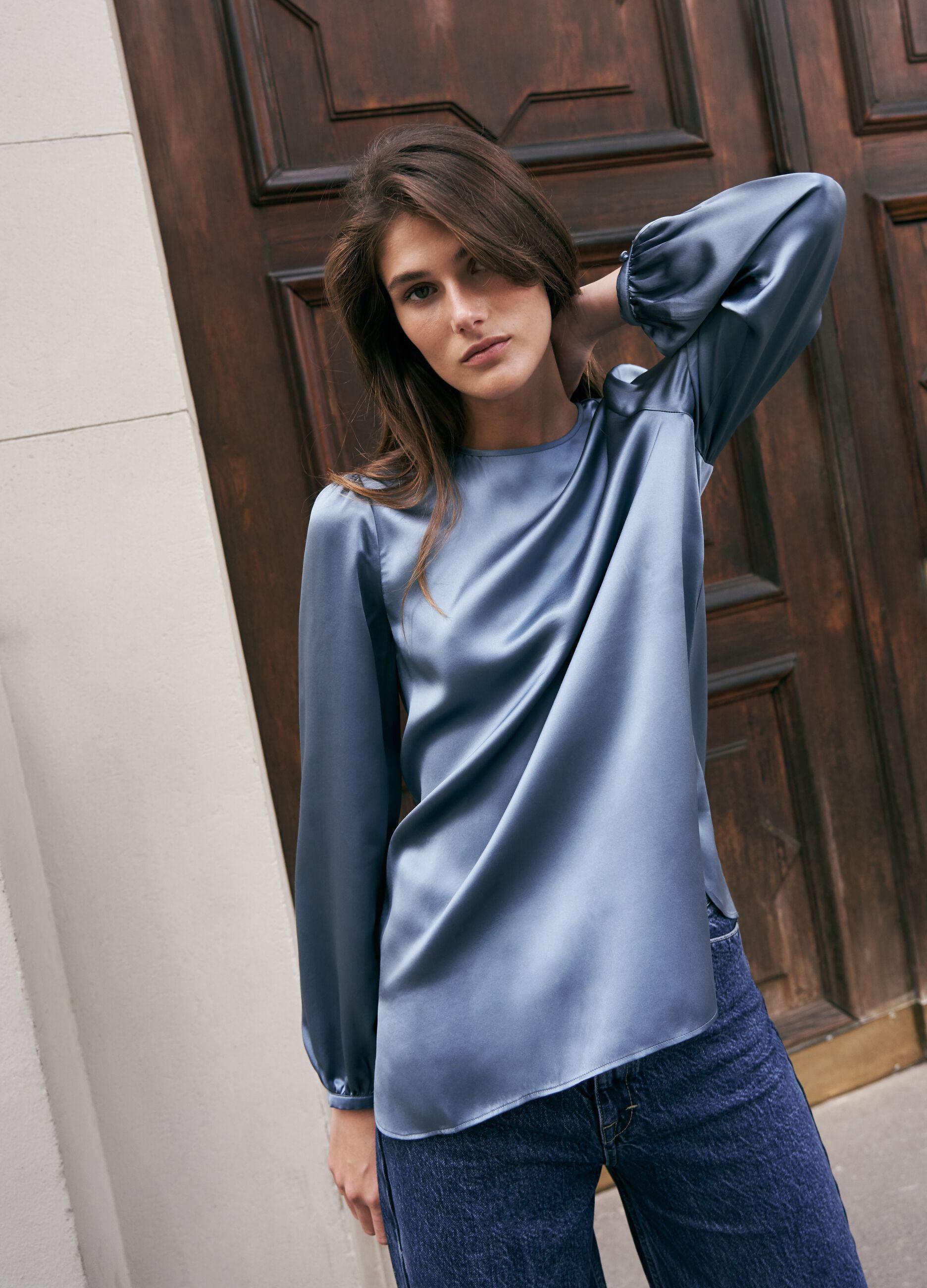 Blusa in raso di pura seta Azzurro