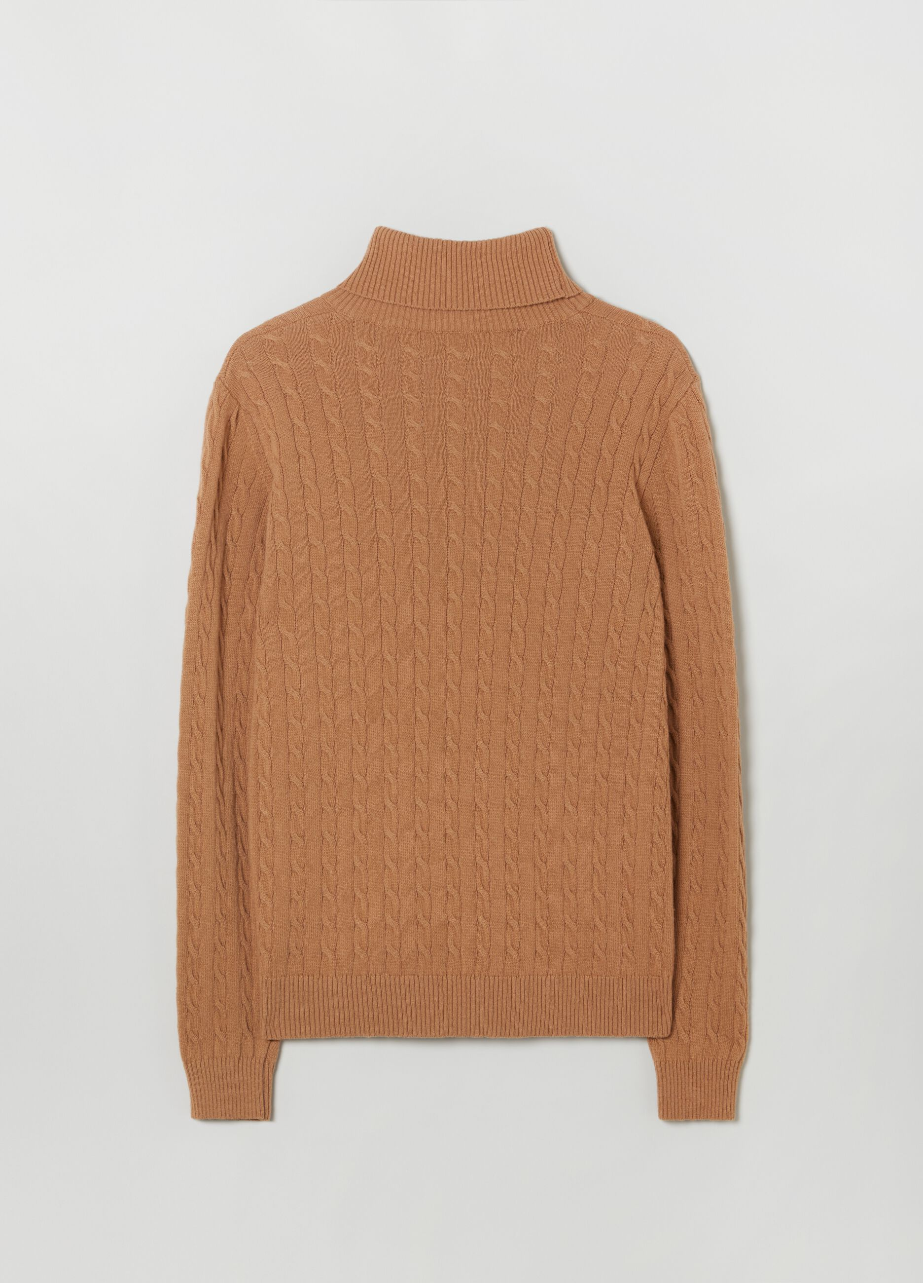 Turtleneck jumper with braided design Brown