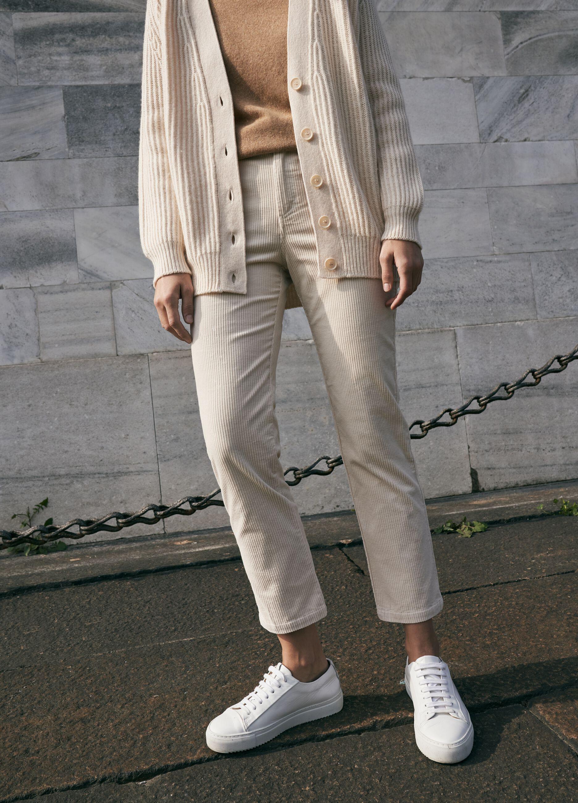 Pantalone chino in corduroy Beige