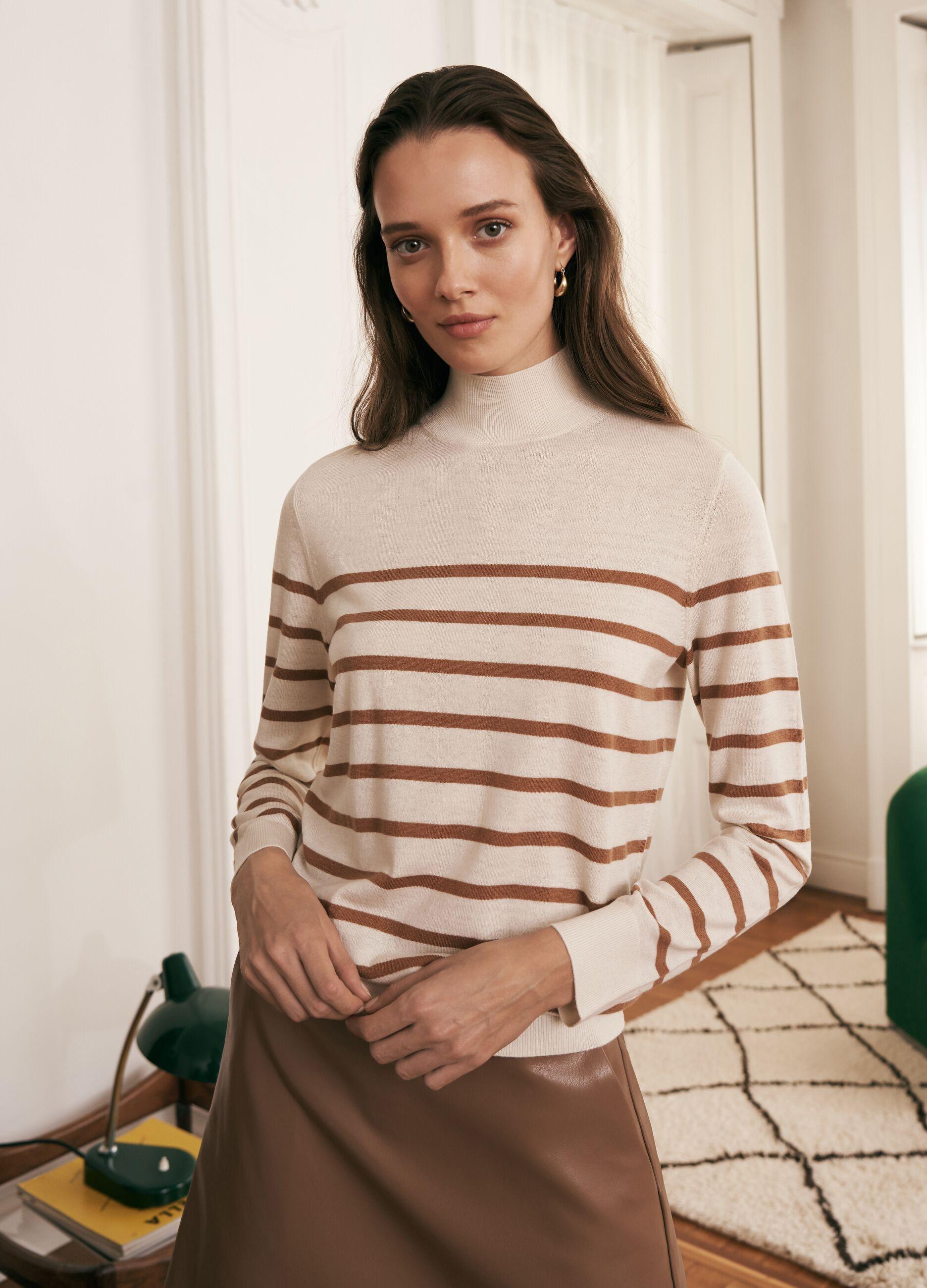 Pullover a collo alto in lana e seta a righe Multicolor