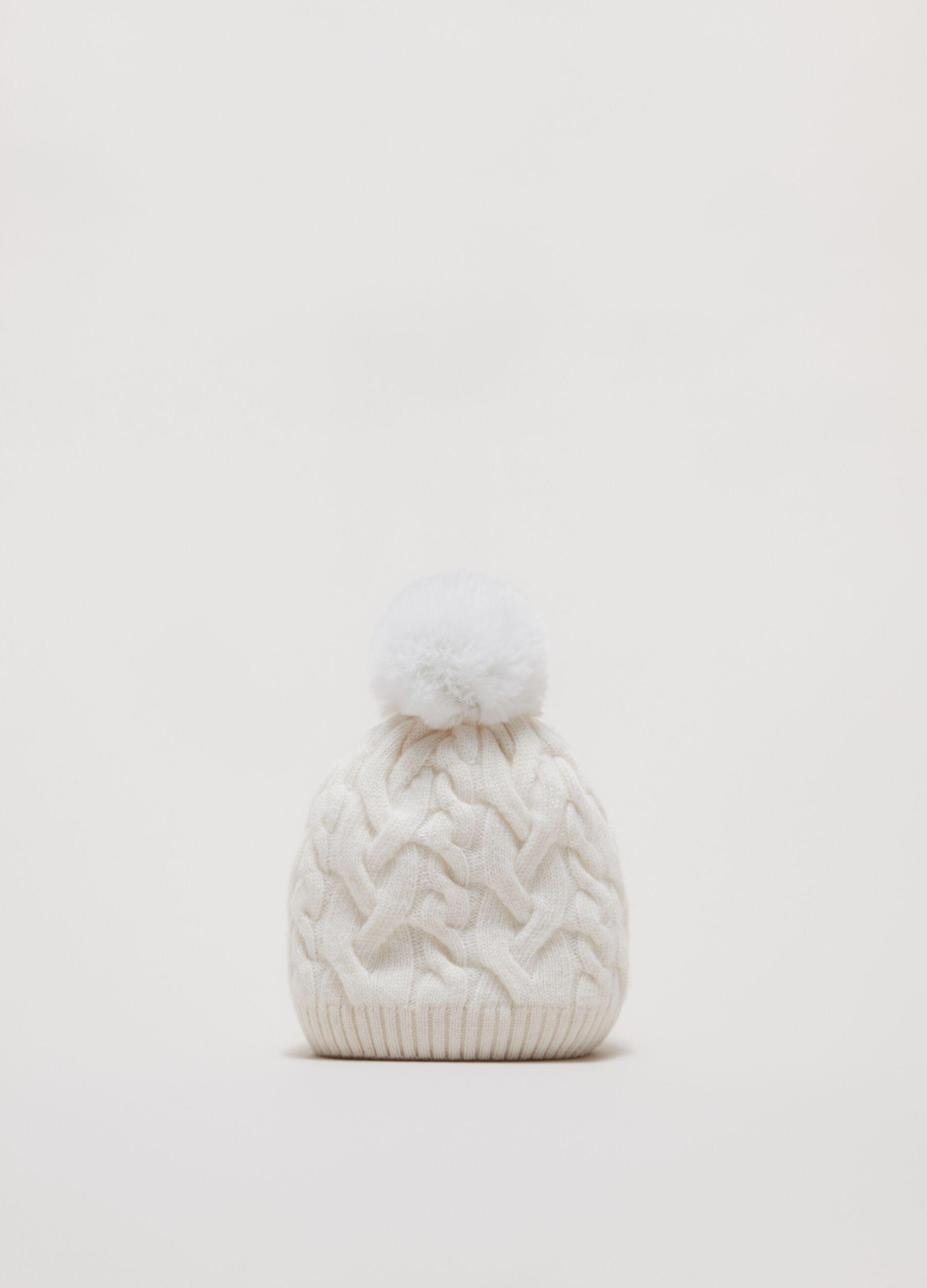 Berretto di lana a trecce con pon pon Bianco