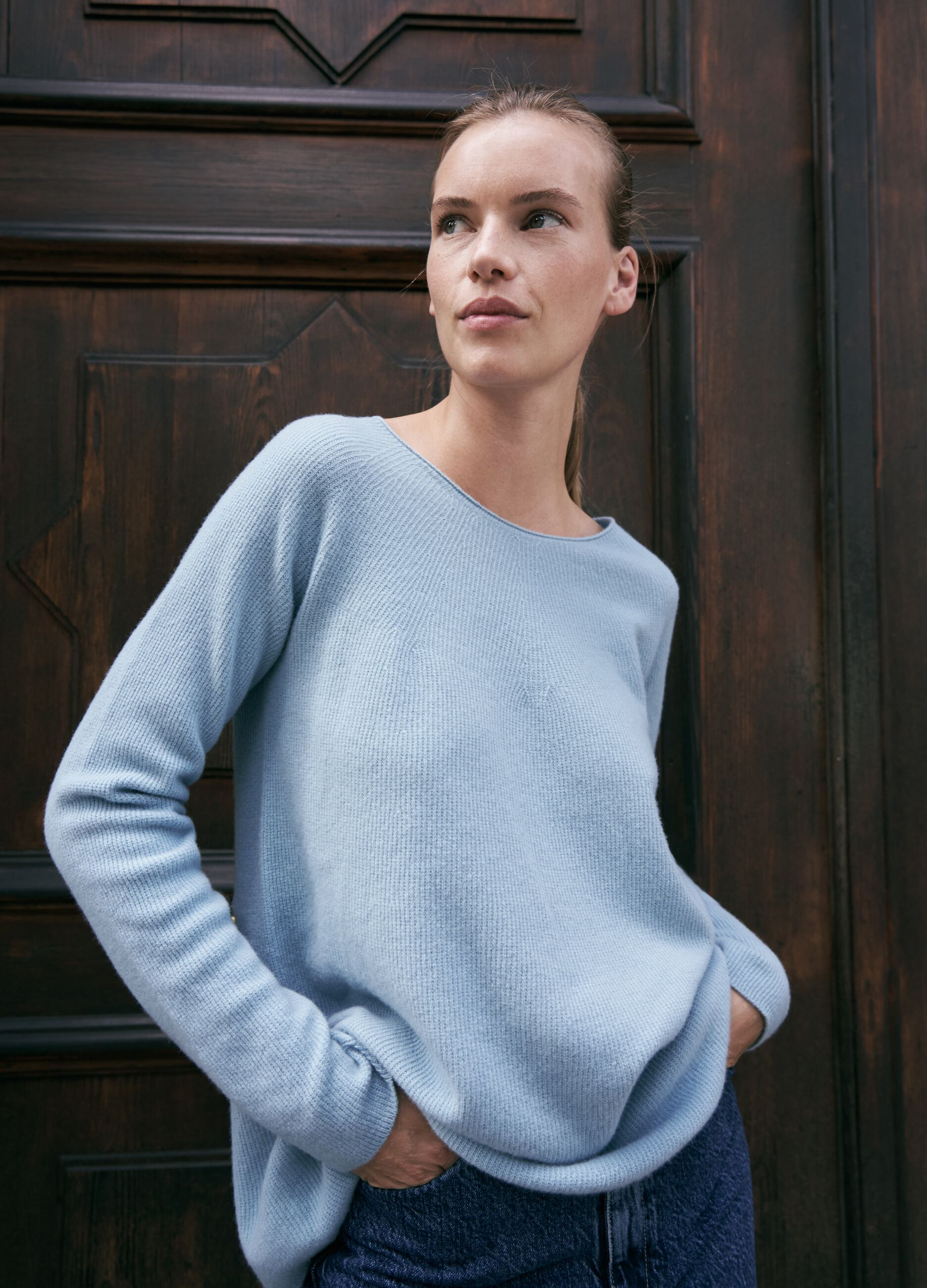 Pullover in pura lana senza cuciture Azzurro