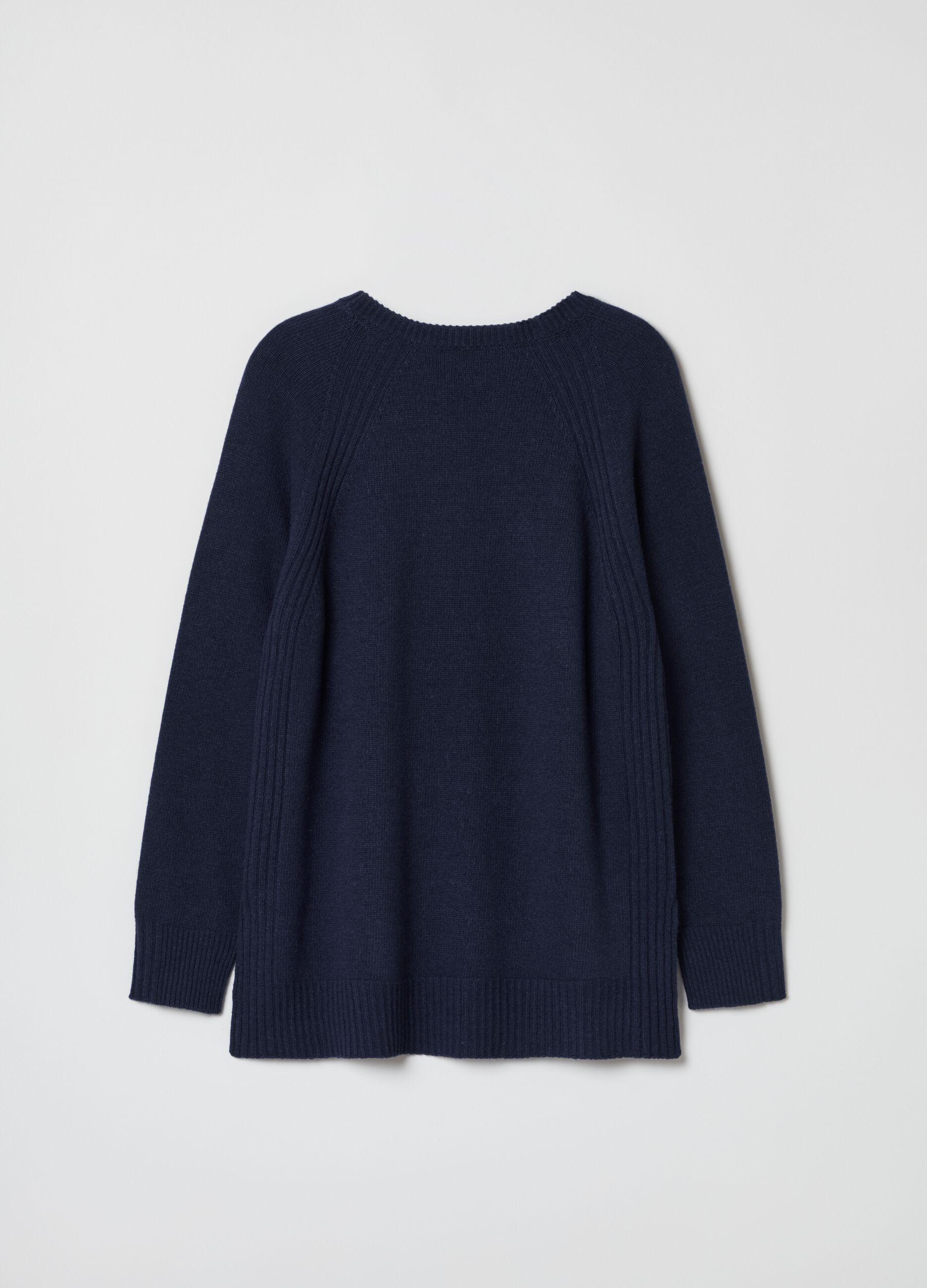 Girocollo in lana e cachemire con spacchi Blu