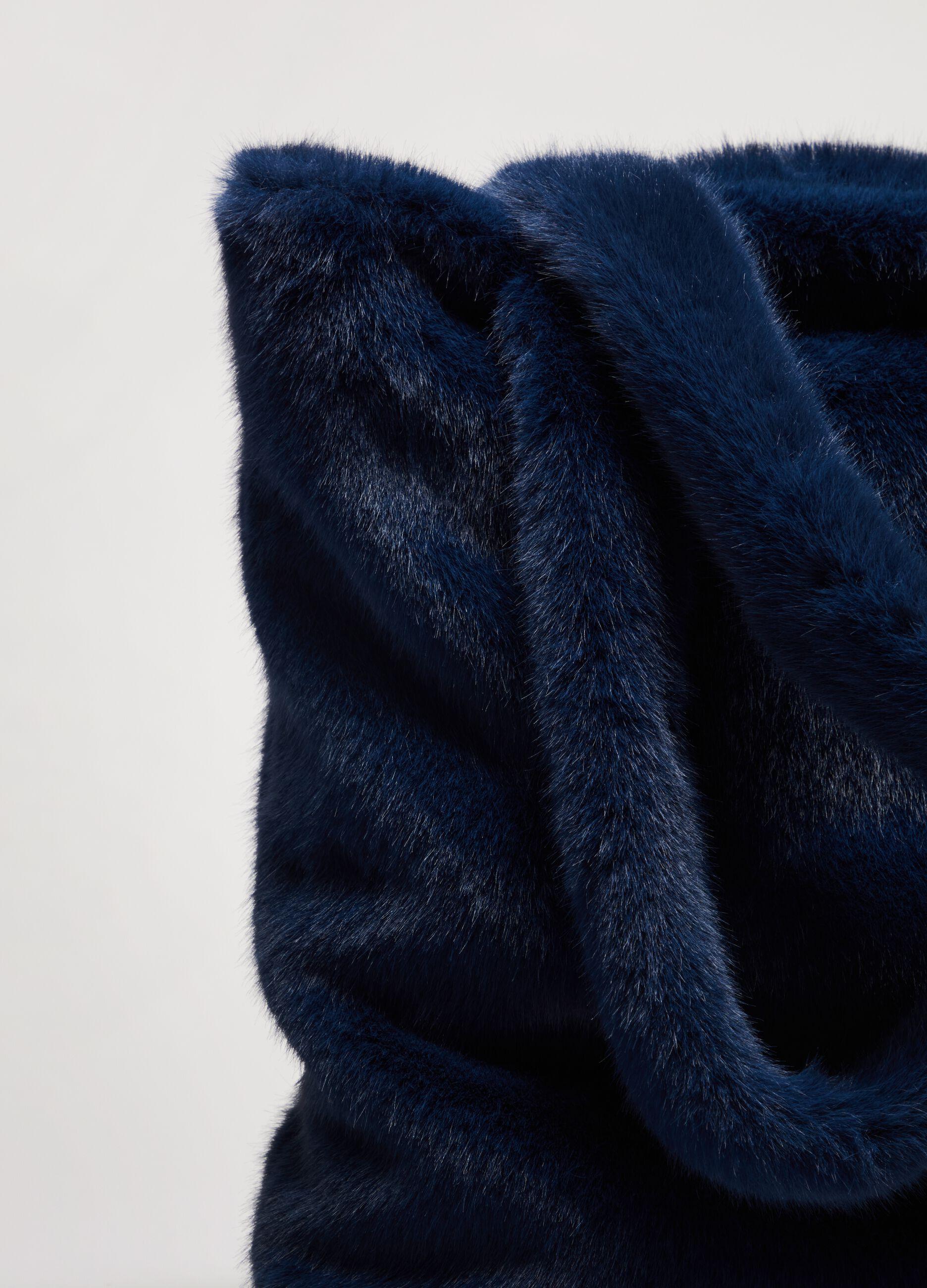 Tote bag in eco pelliccia Blu