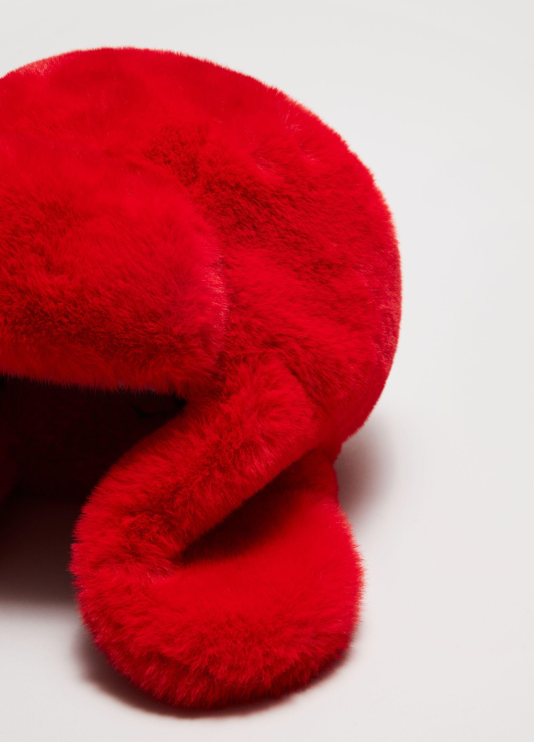 Cappello aviatore in eco pelliccia Rosso