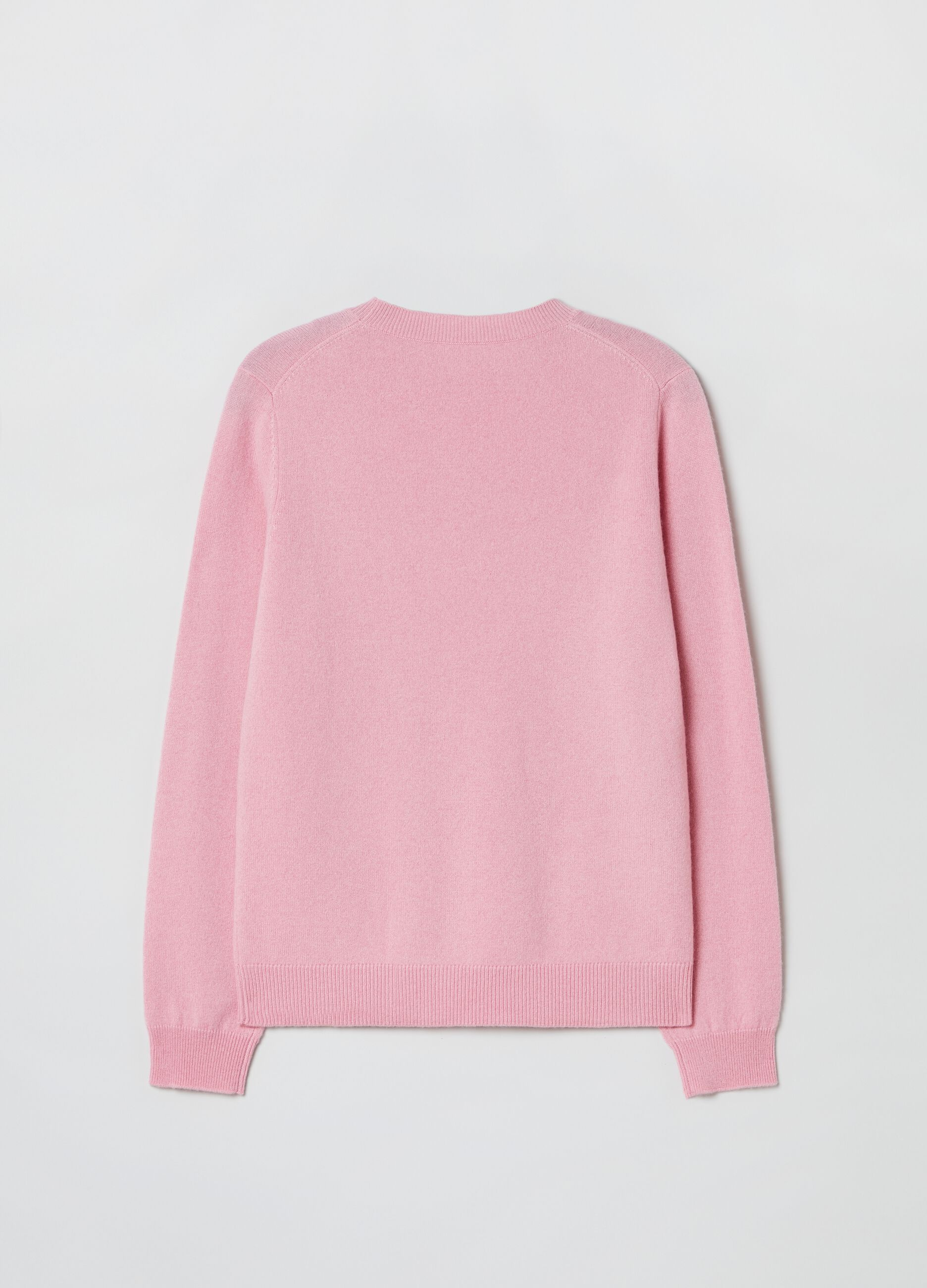 Round-neck pullover in 100% cashmere Pink