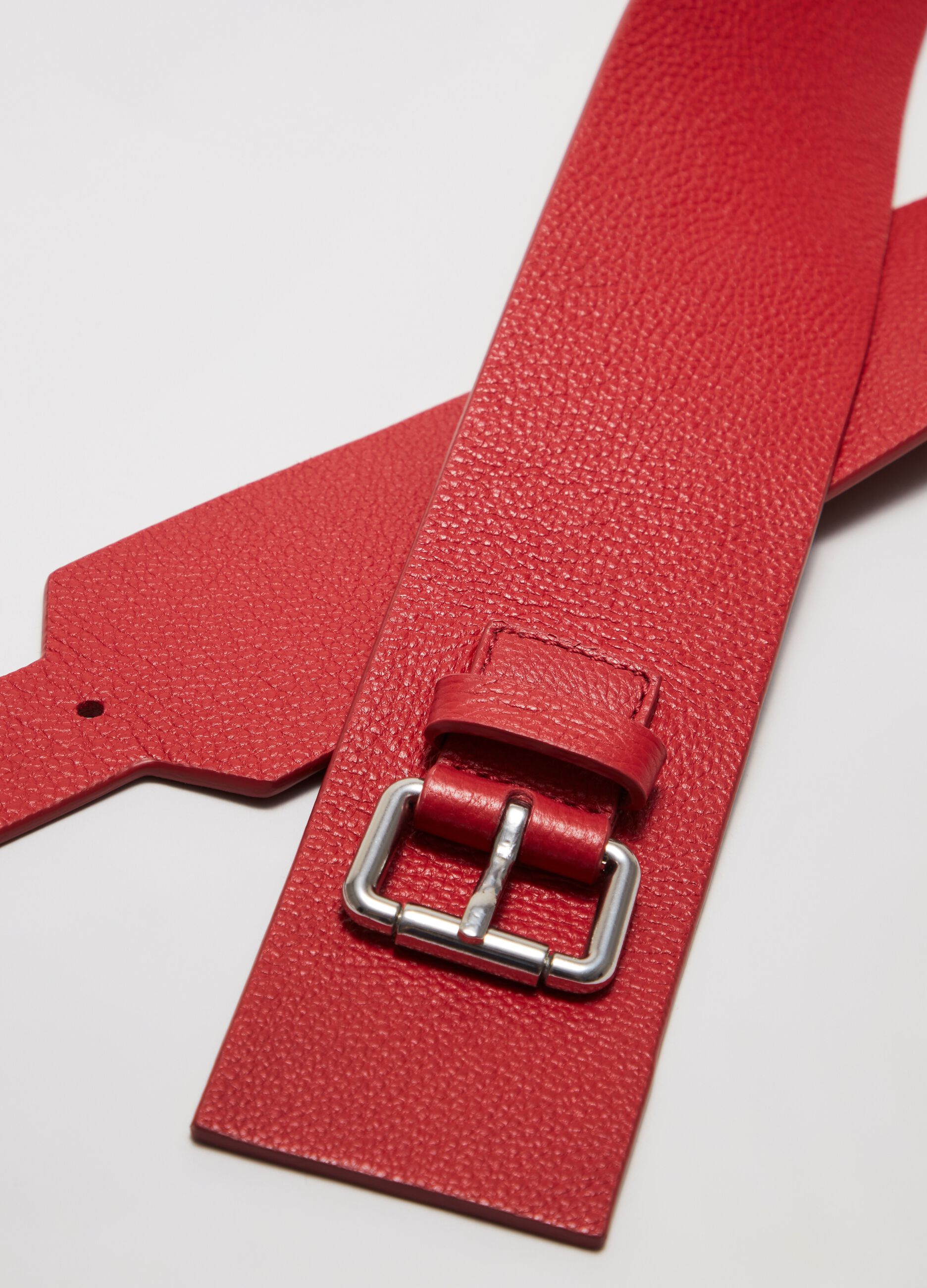 Wide leather belt Red