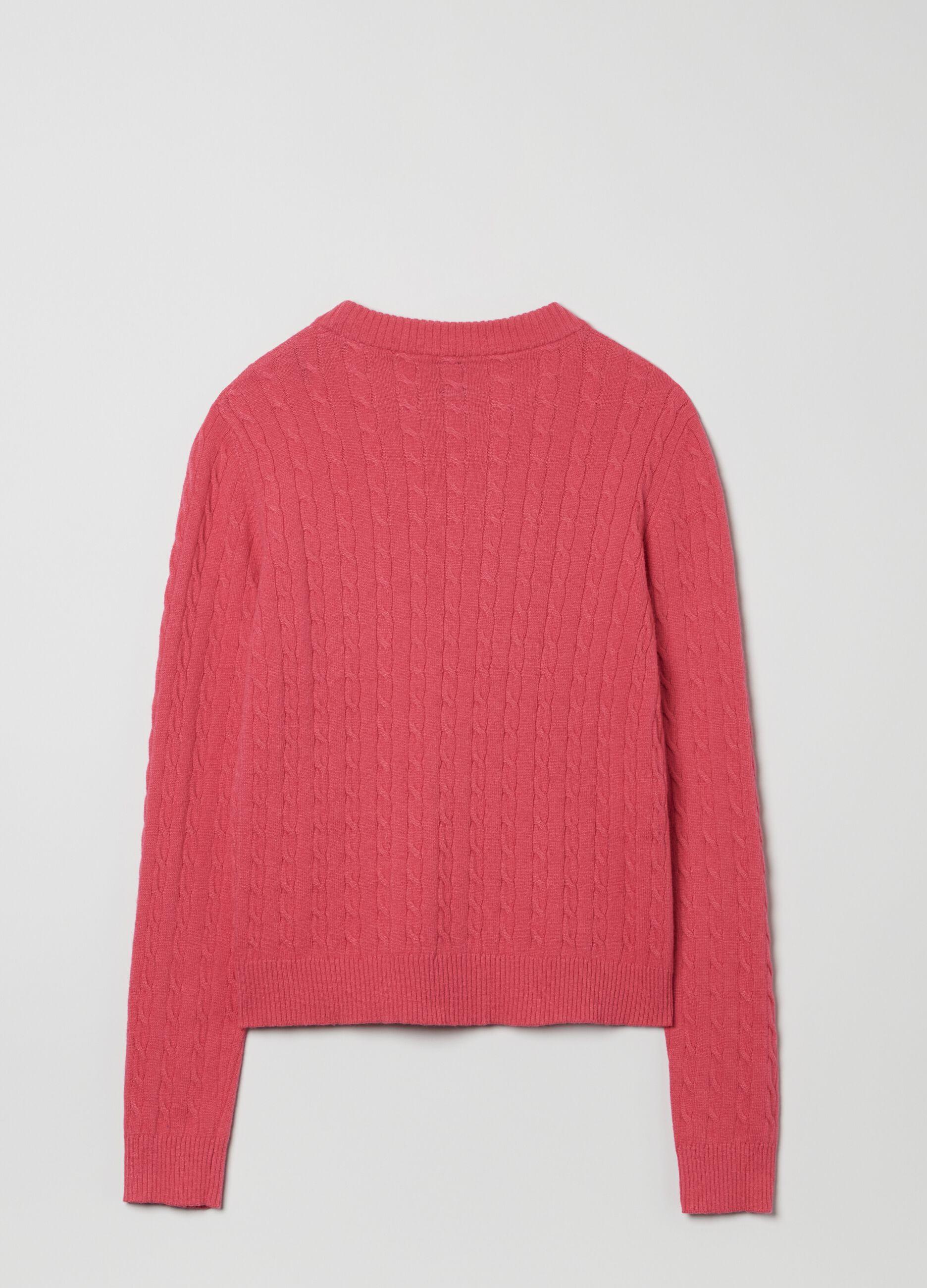 Maglia in lana e cachemire motivo a trecce Rosa