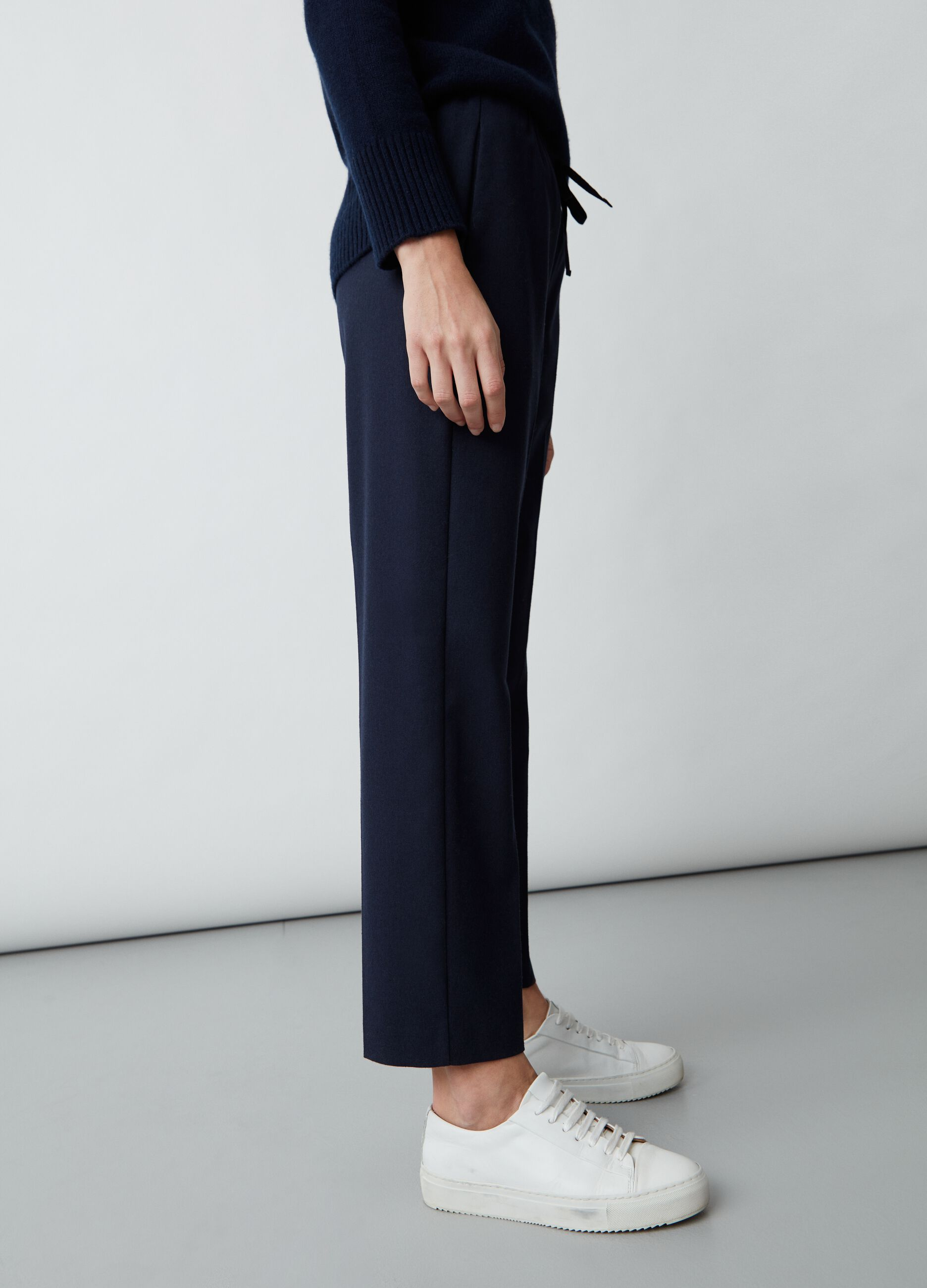 Pantalone straight fit con coulisse Blu