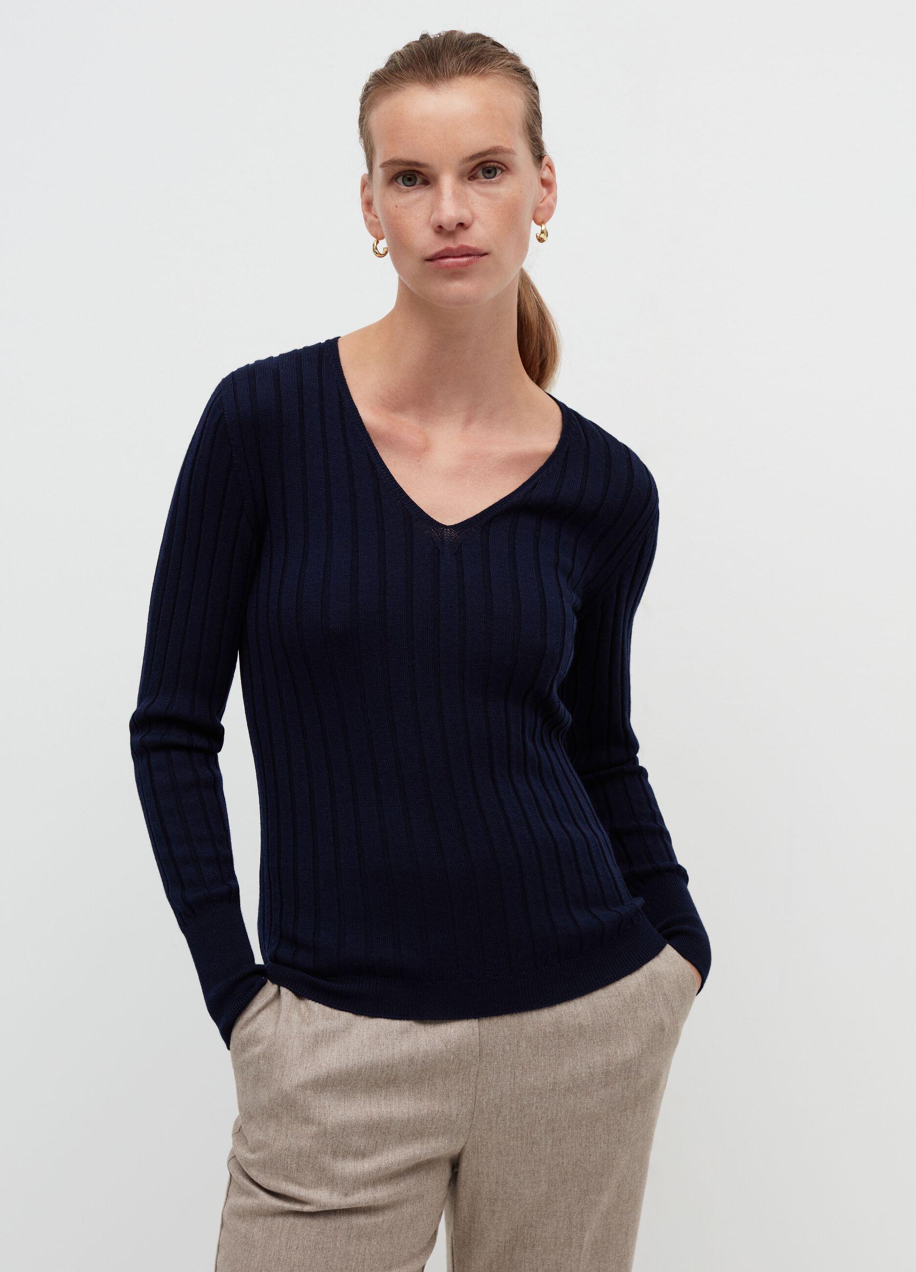 Pullover in lana merinos a coste piatte Blu