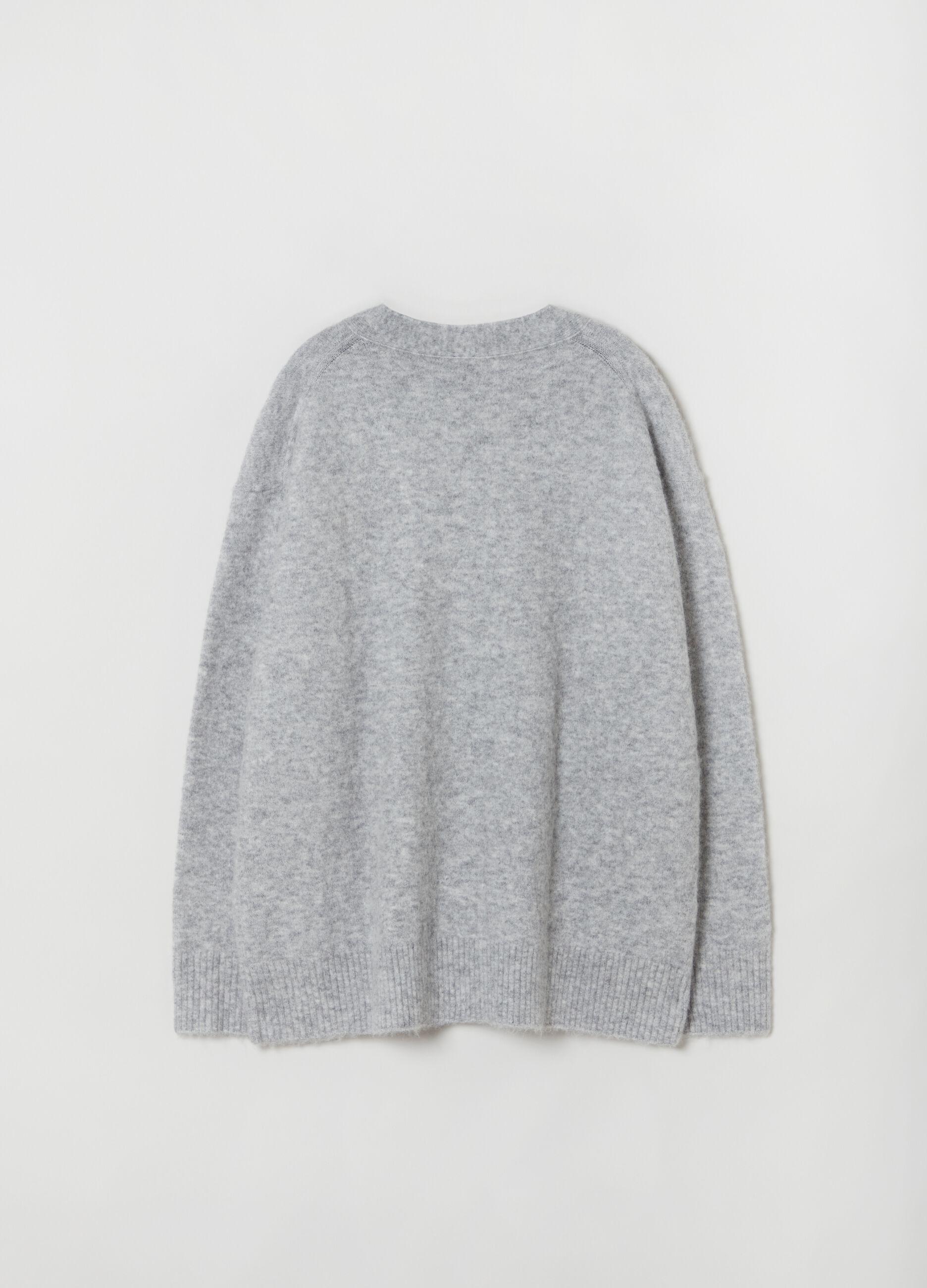 Cardigan over in lana a e alpaca Grigio