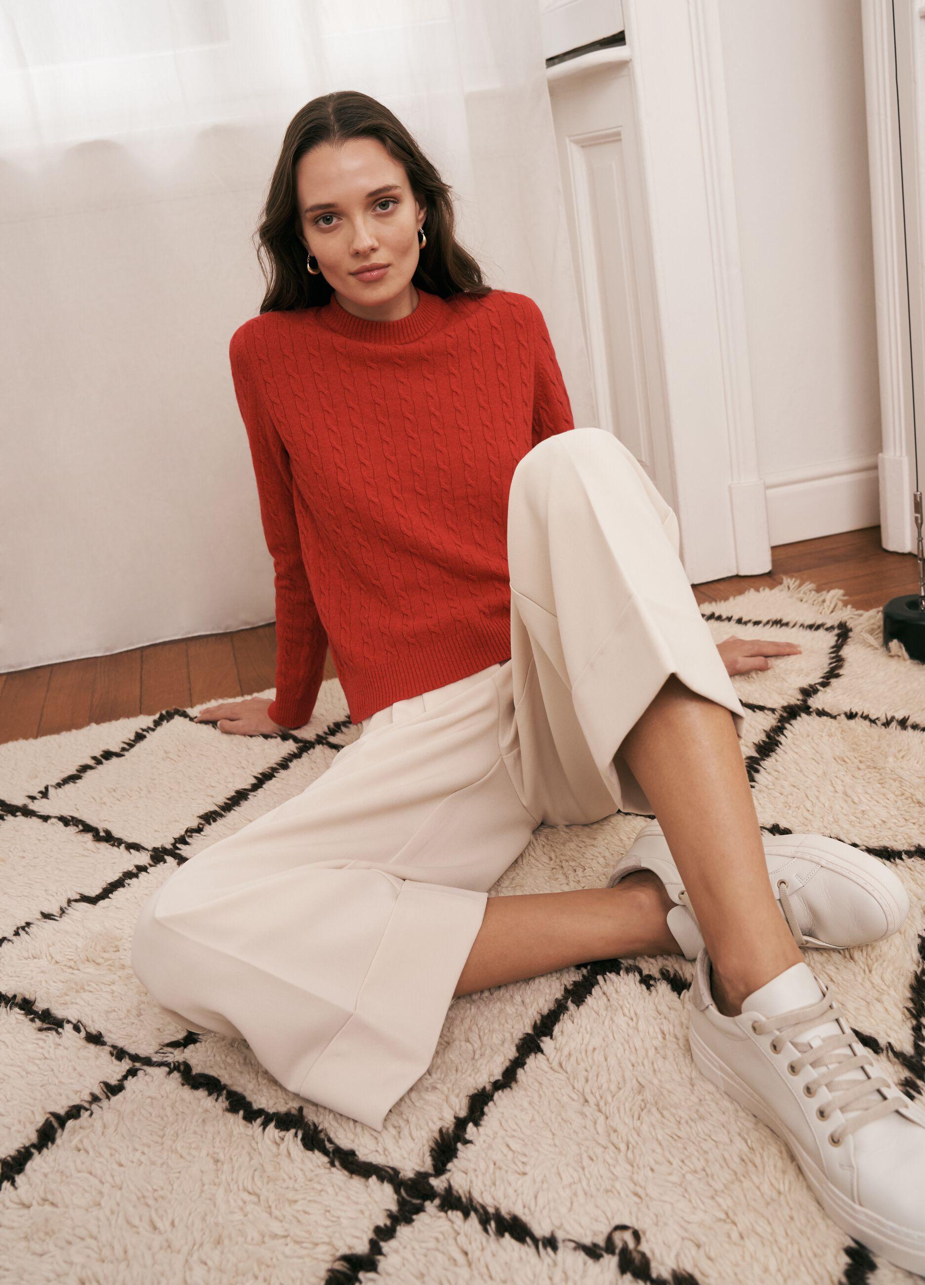 Maglia in lana e cachemire motivo a trecce Rosso
