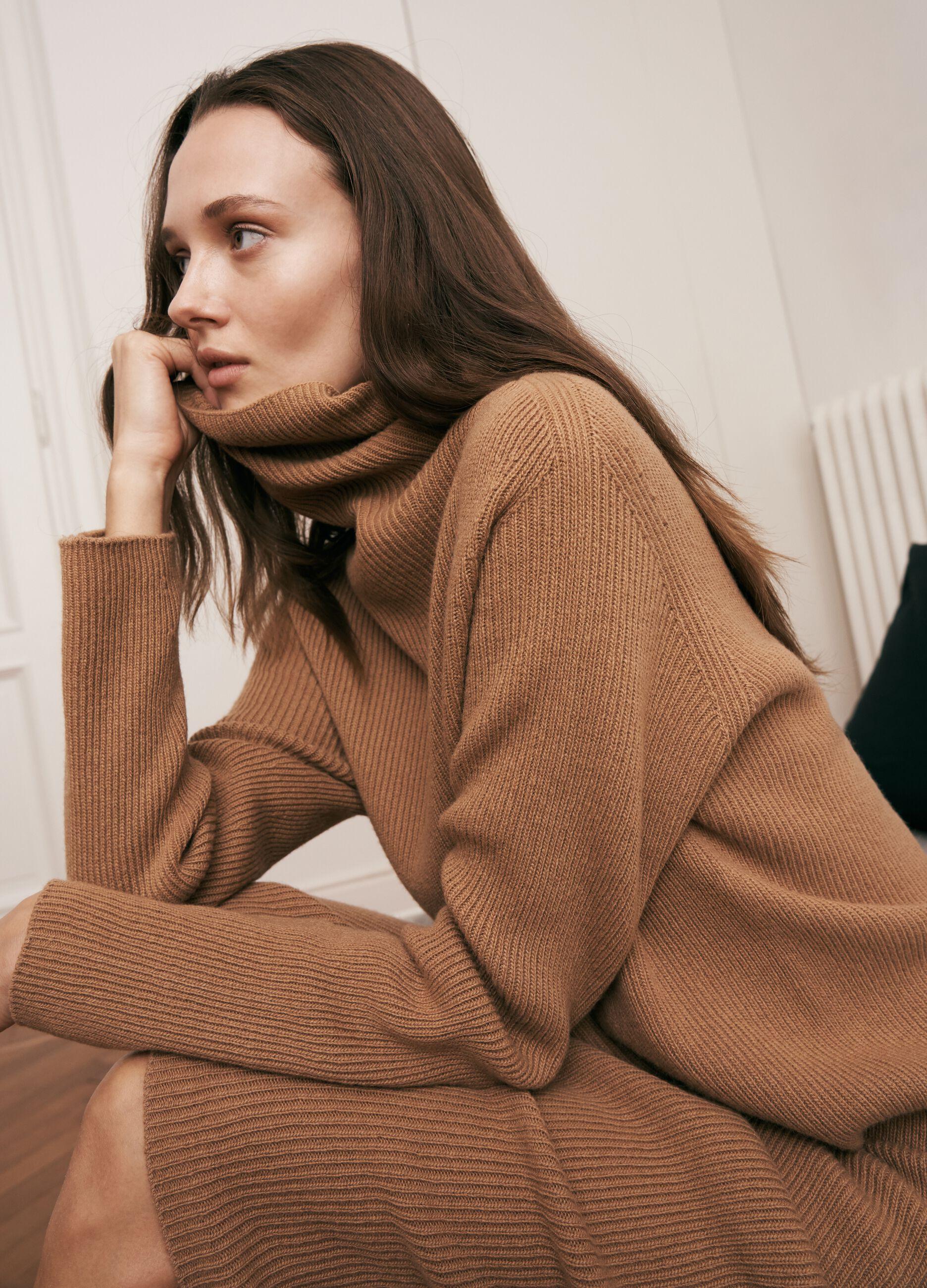 Abito lungo in maglia di lana e cachemire Marrone