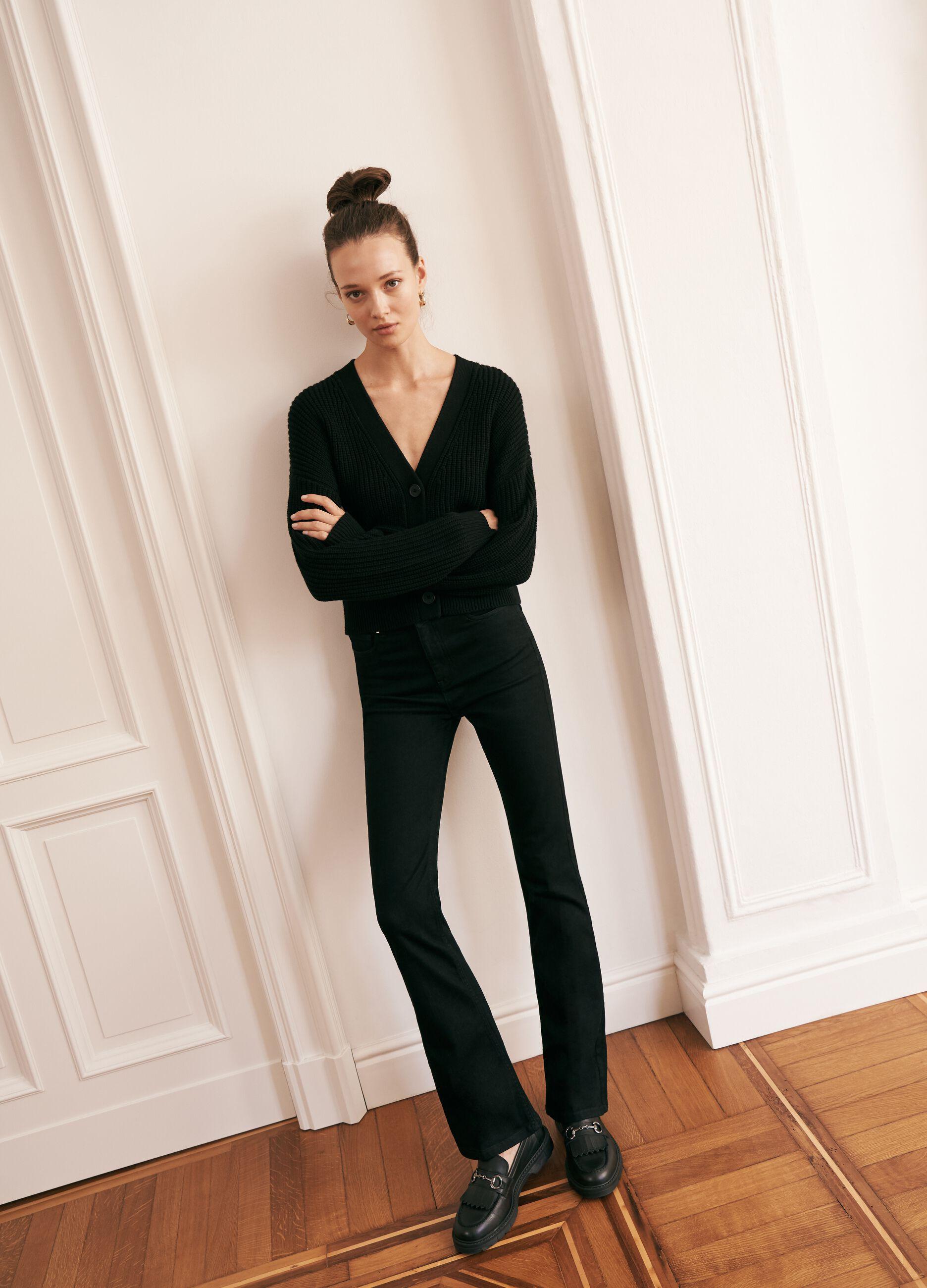 Jeans bootcut in cotone super stretch Nero