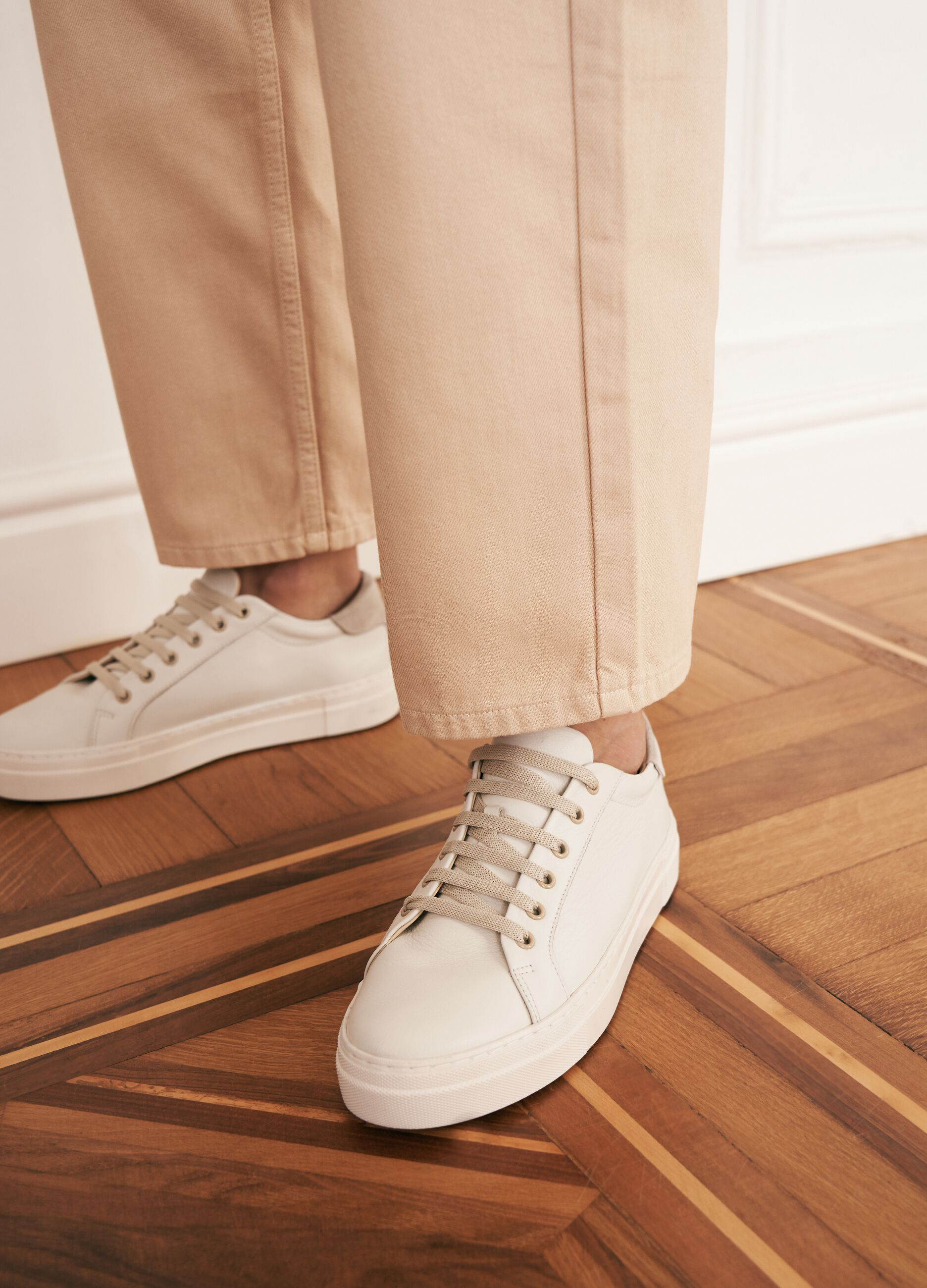 Sneakers stringate in pelle Bianco