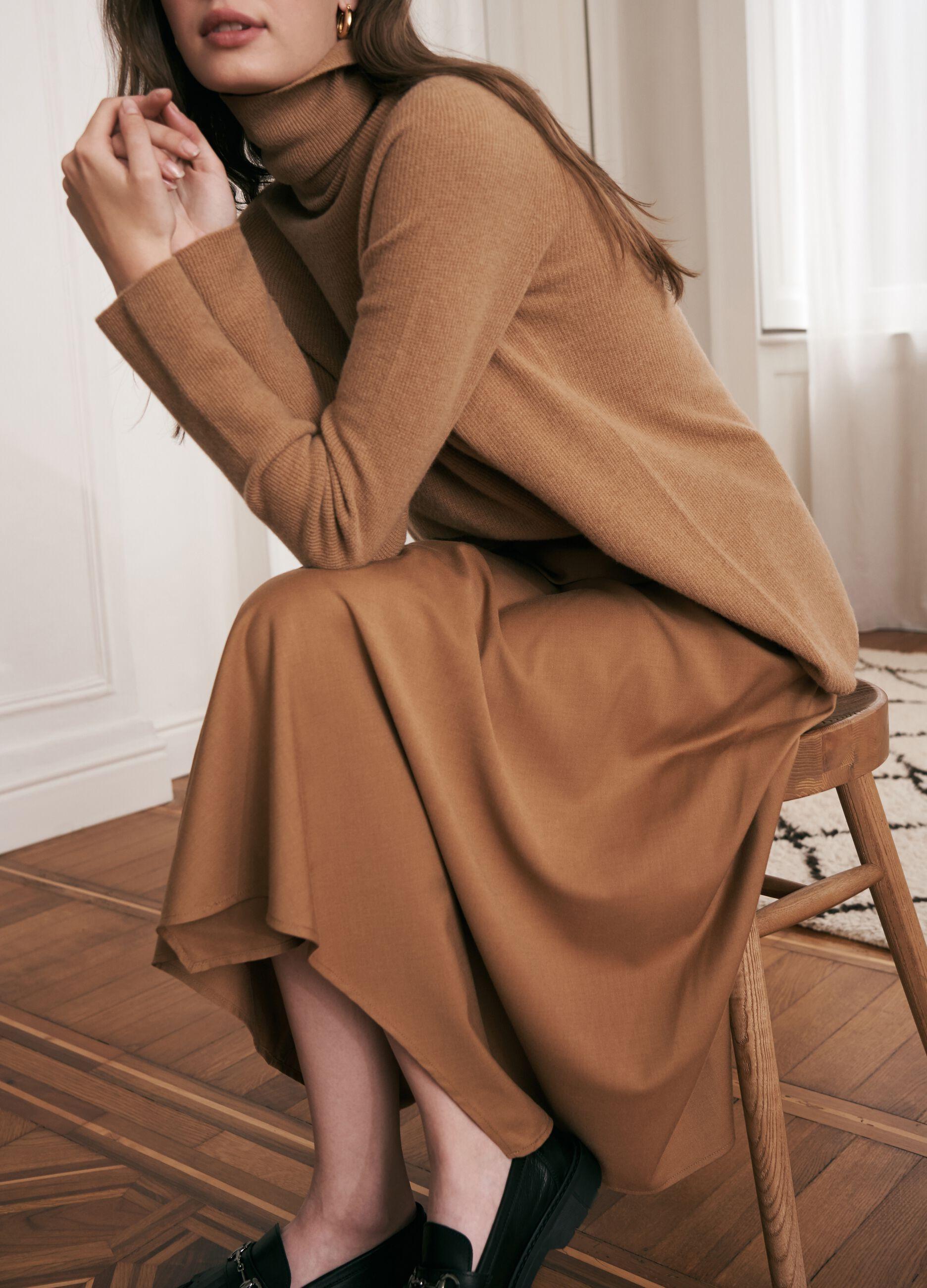 Maglia a collo alto in pura lana vergine Marrone
