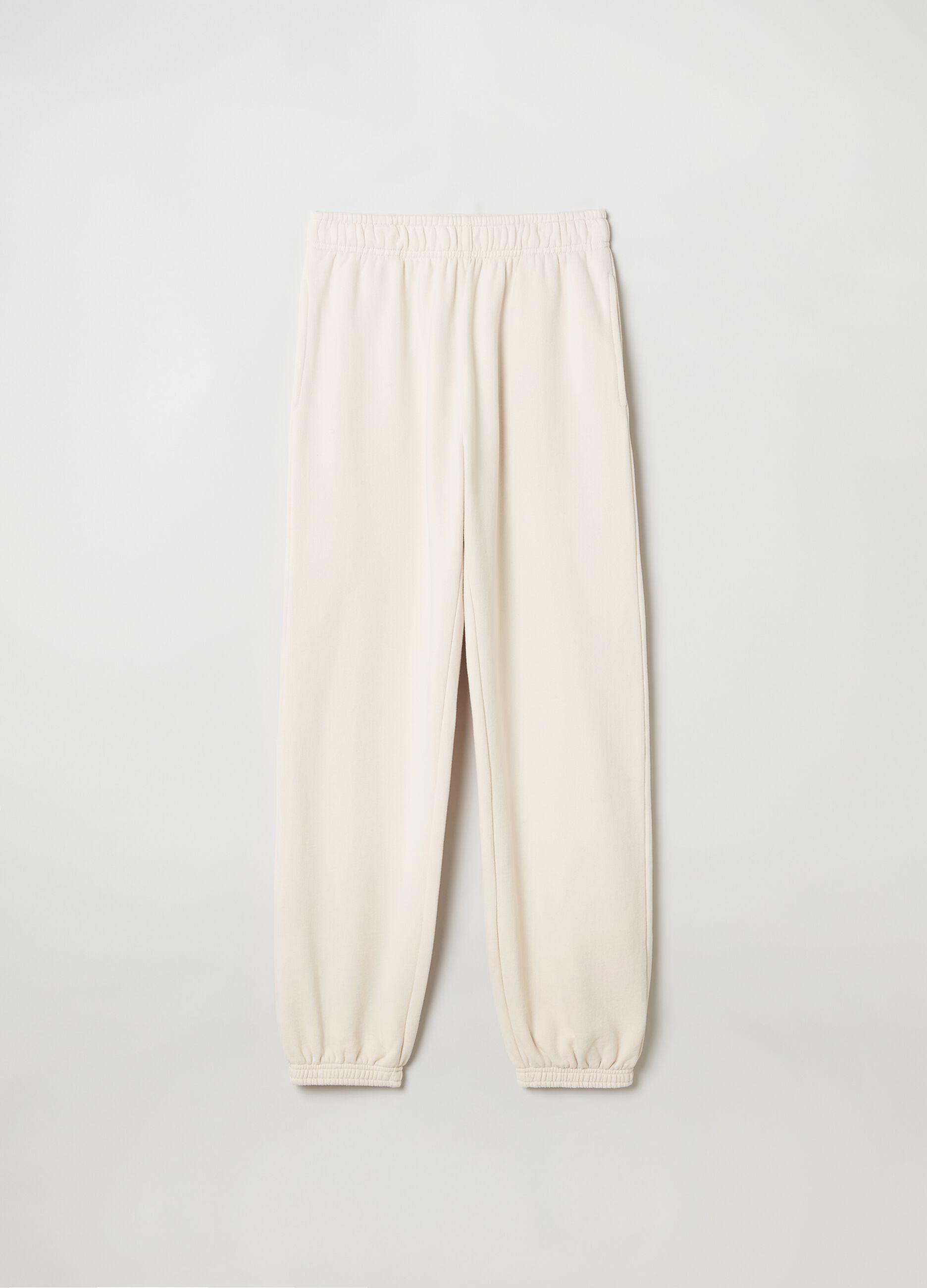 Pantalone jogging in felpa Beige