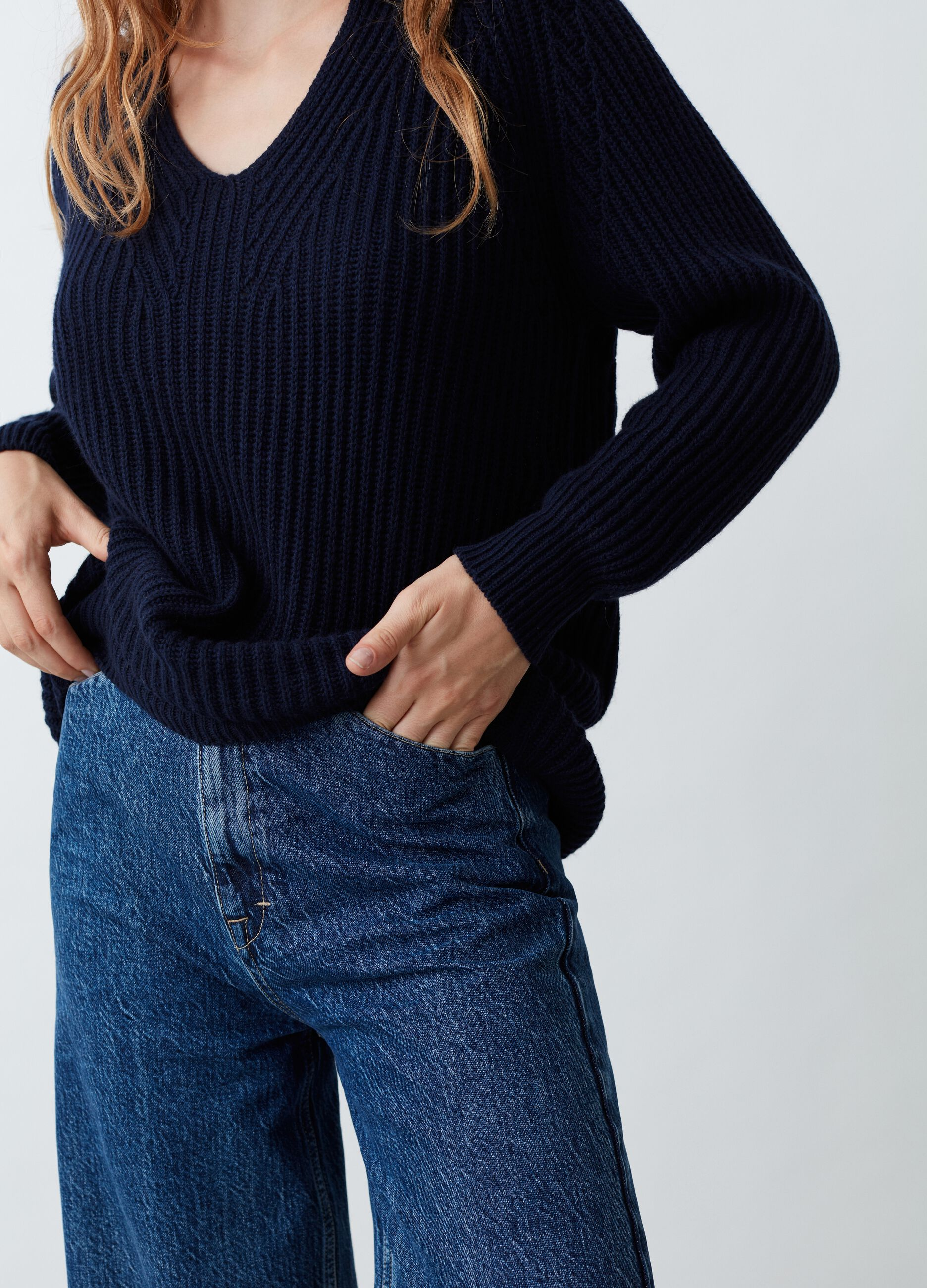 Pullover lana e cachemire scollo a V Blu