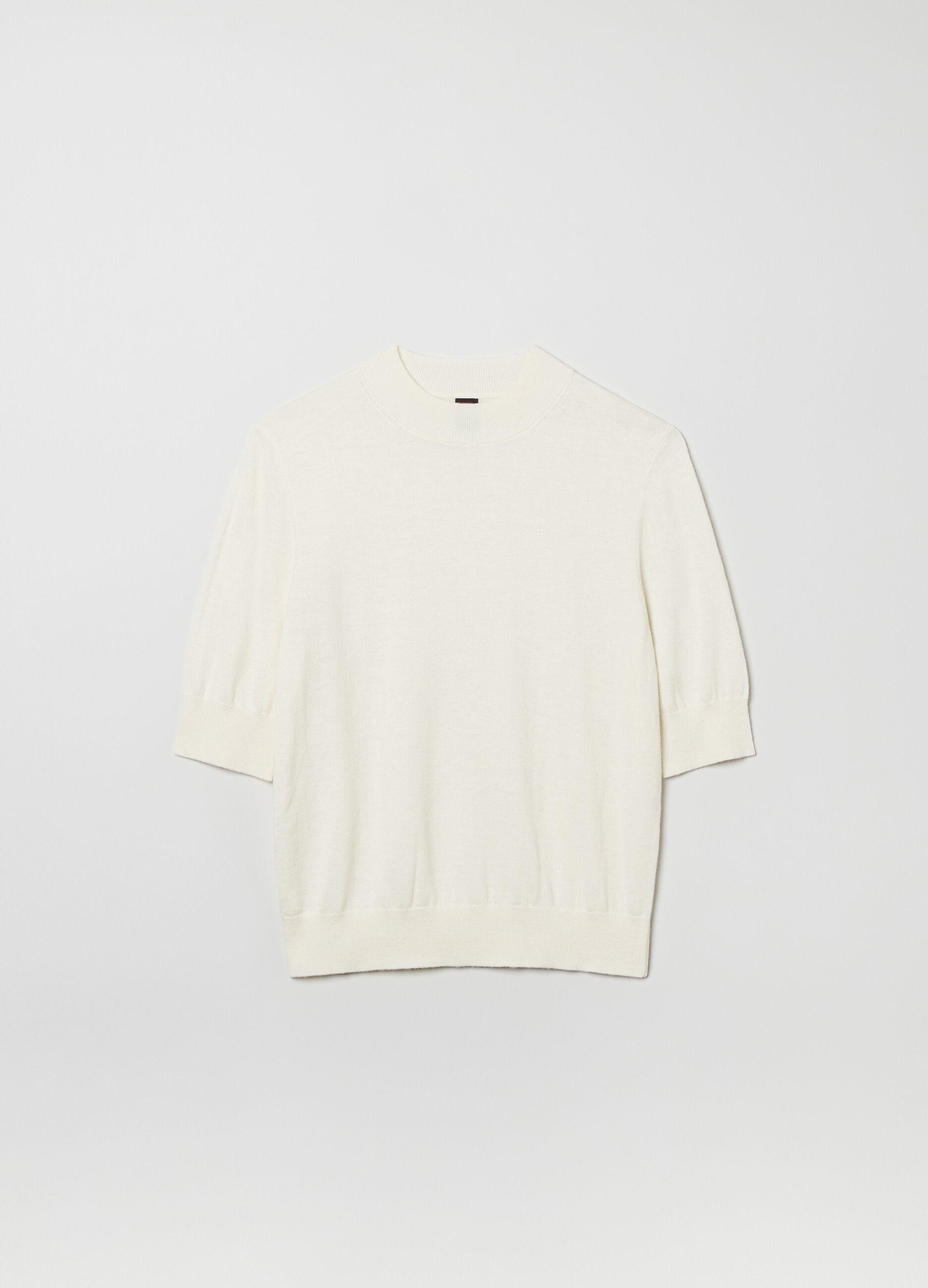 Pullover lana e seta a maniche corte Bianco