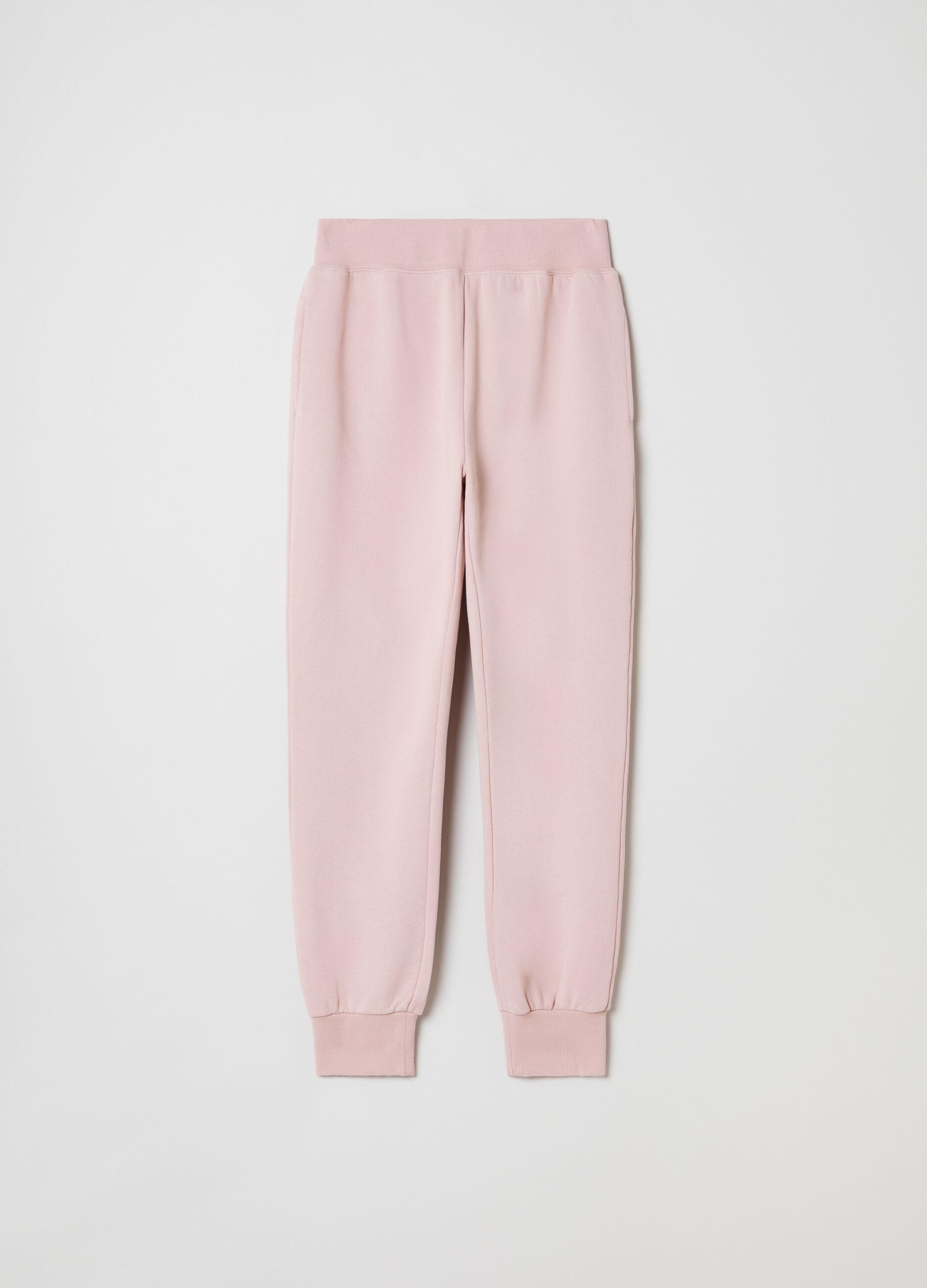 Pantalone jogging in felpa slim fit Rosa