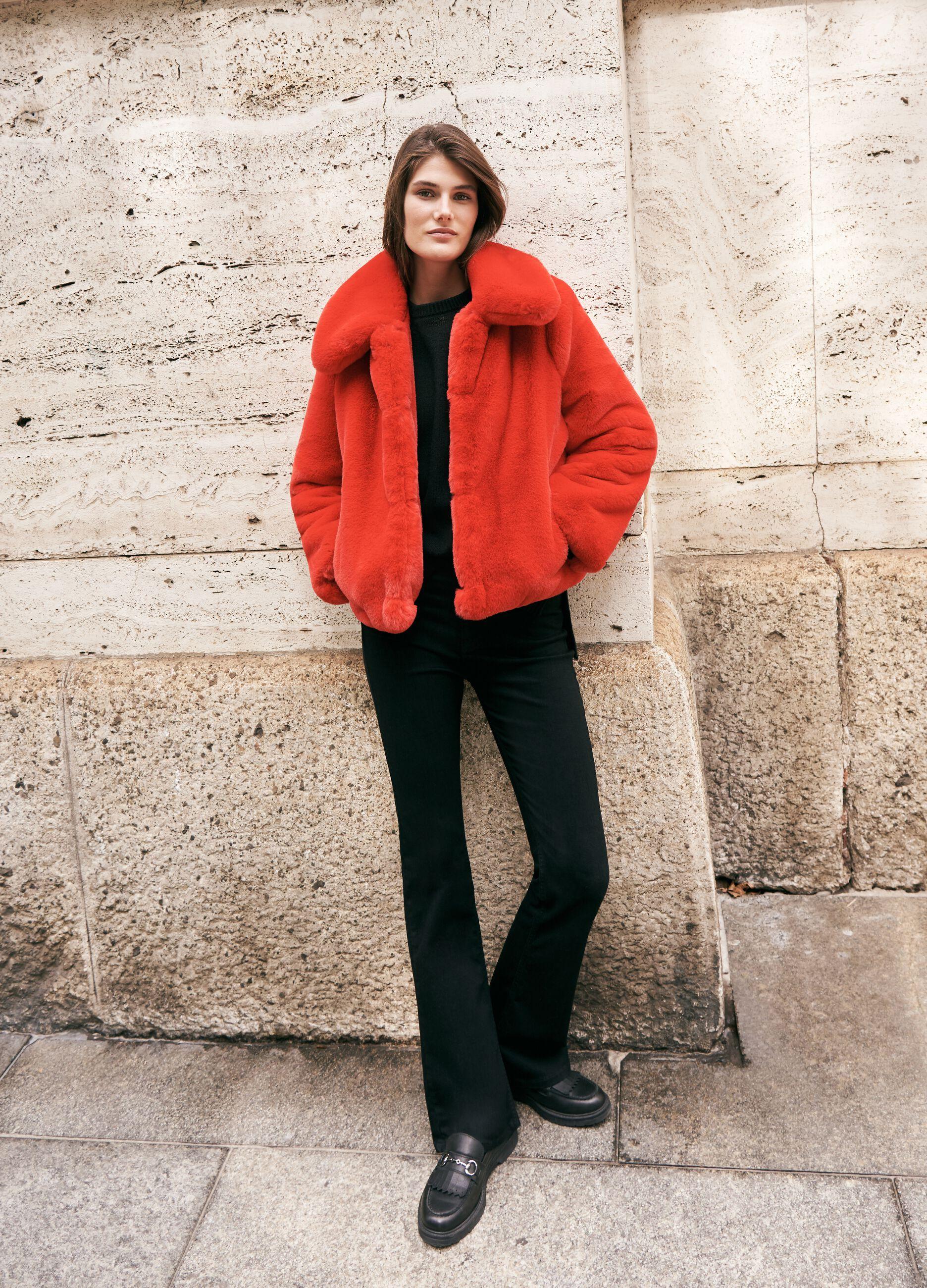 Giacca in eco pelliccia bold color Rosso