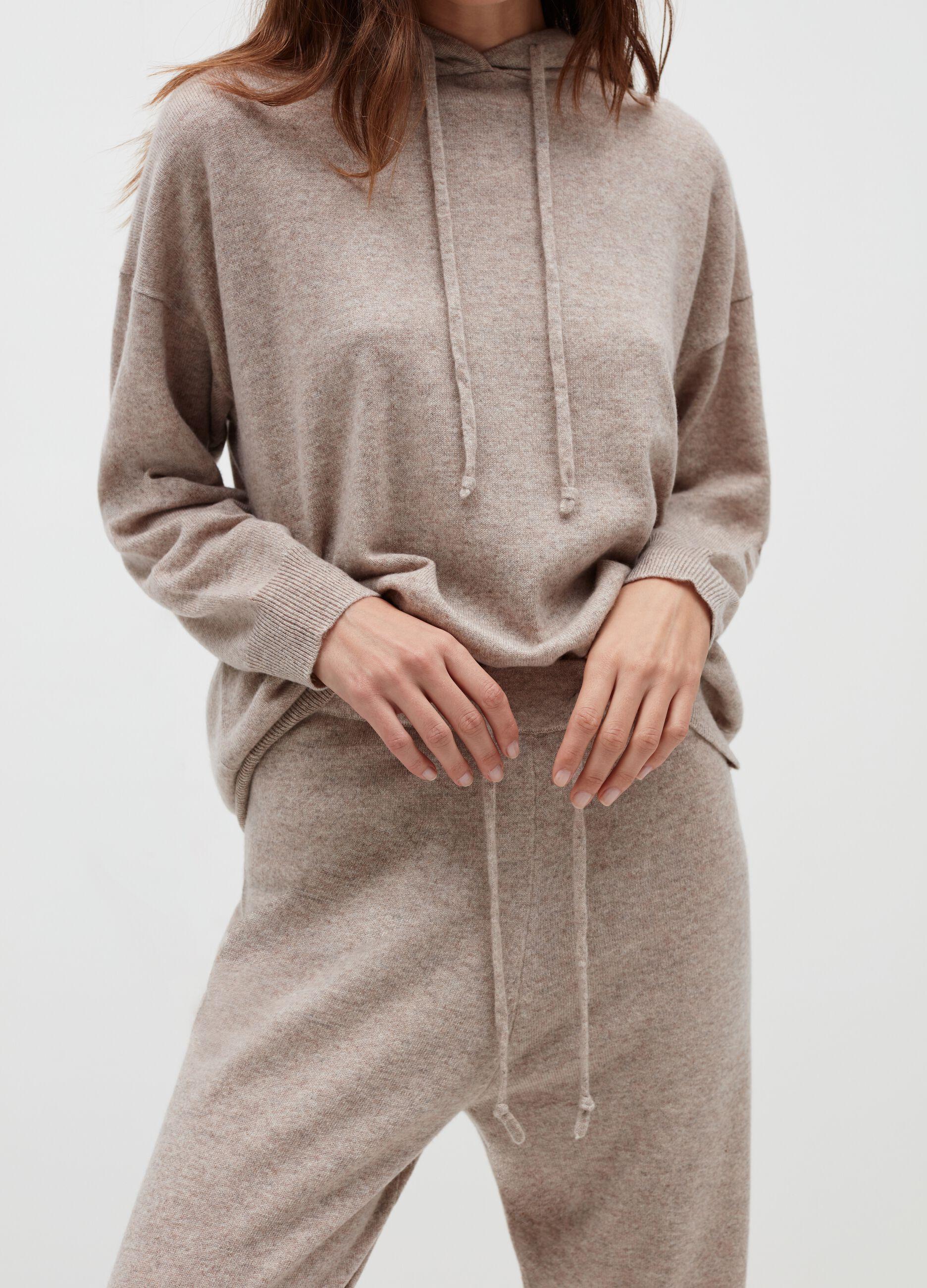 Pullover in cachemire con cappuccio Beige
