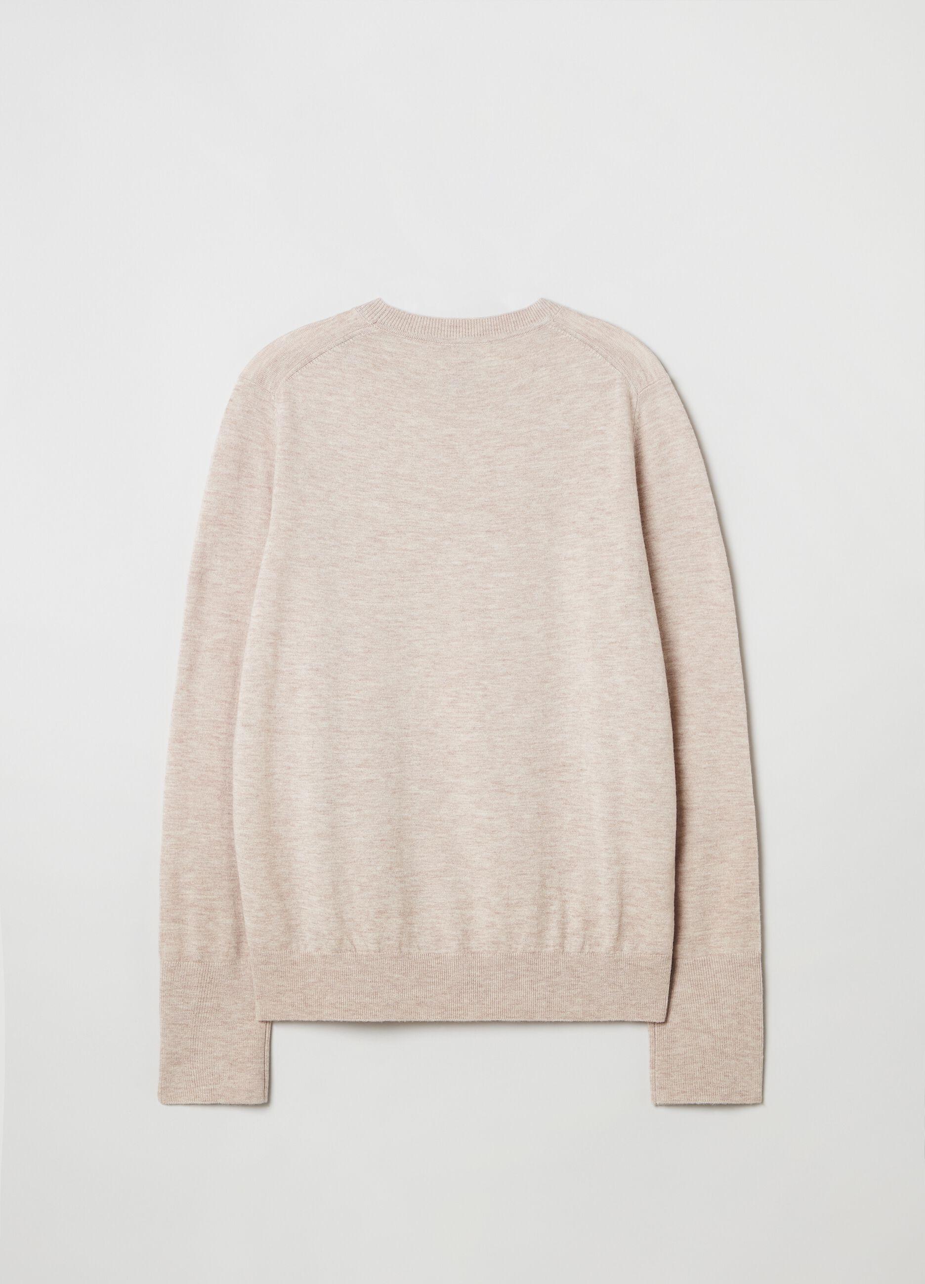 Pullover girocollo in lana e seta Beige