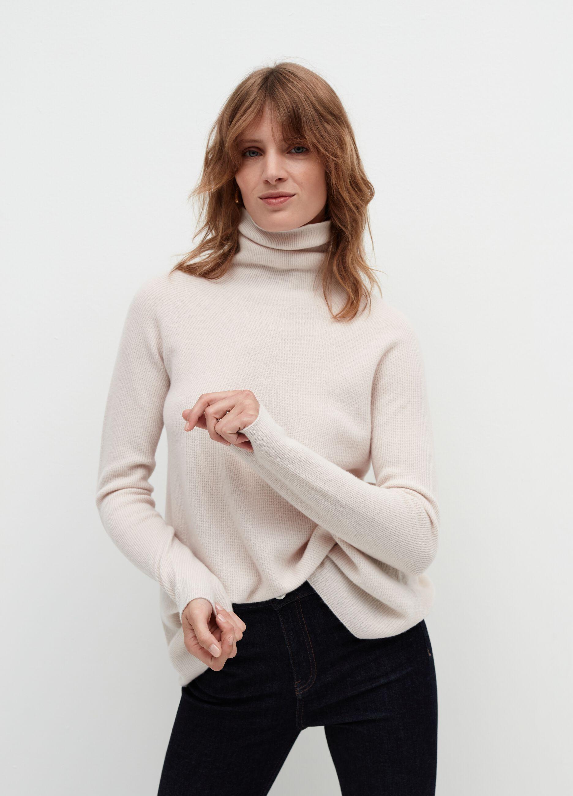 Maglia a collo alto in pura lana vergine Bianco