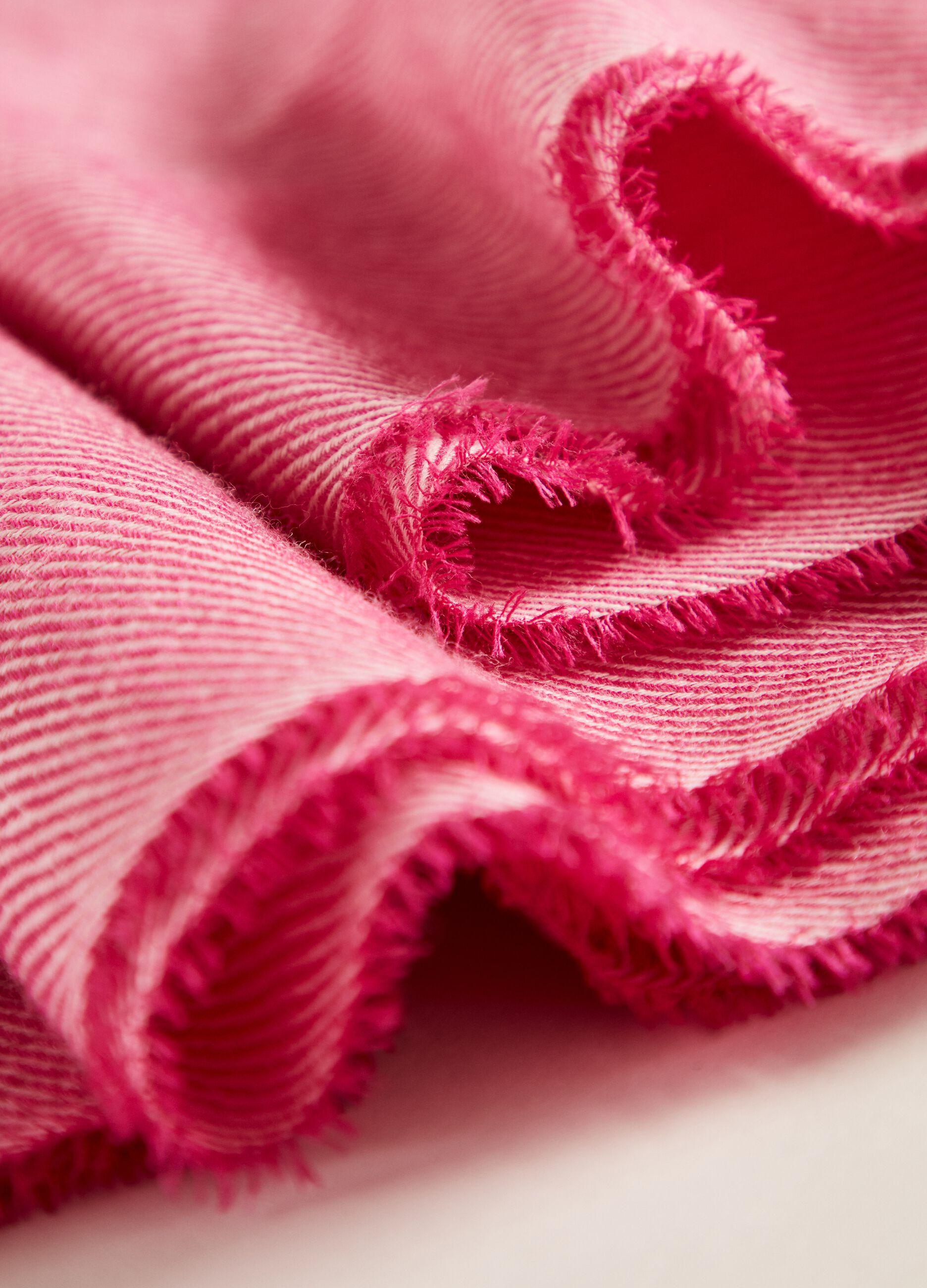 Sciarpa in lana con orlo sfrangiato Rosa