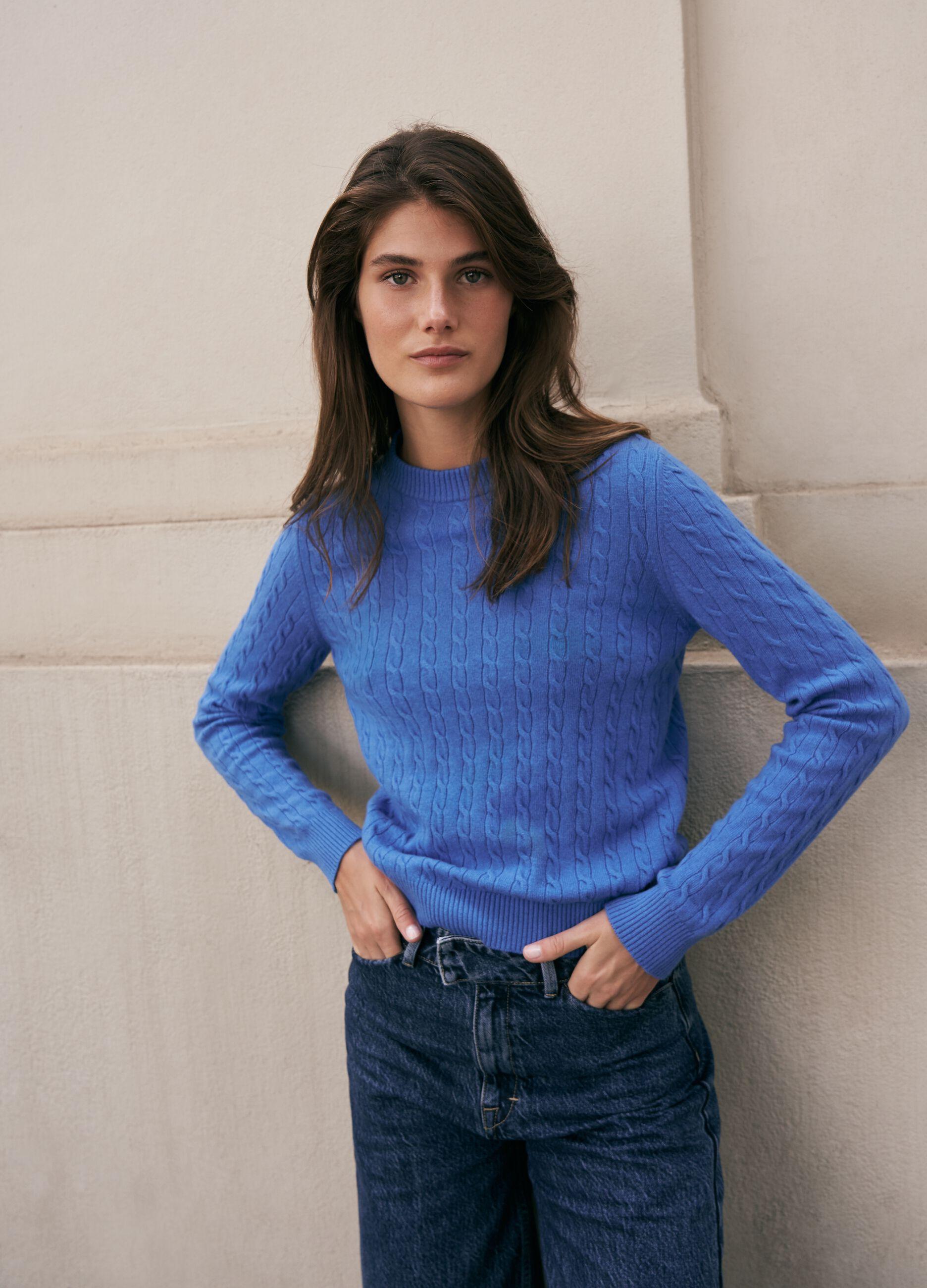 Maglia in lana e cachemire motivo a trecce Azzurro