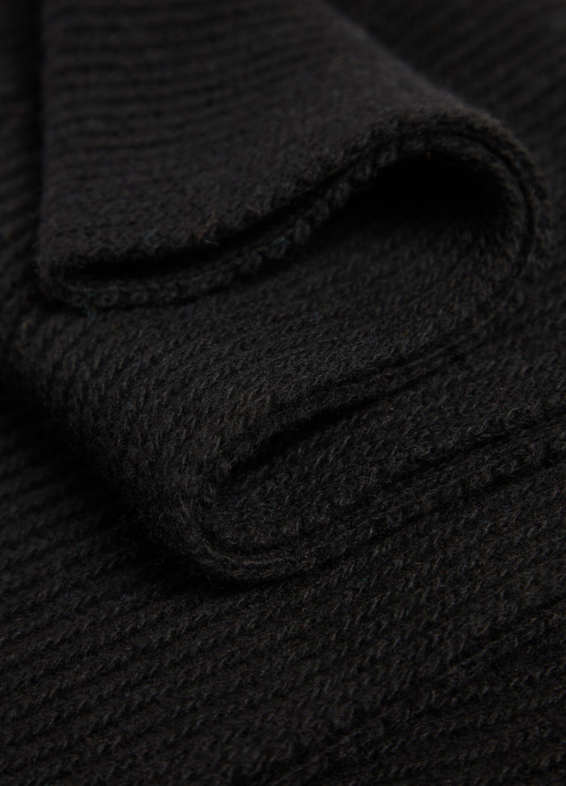 Sciarpa in lana e cachemire a coste Nero