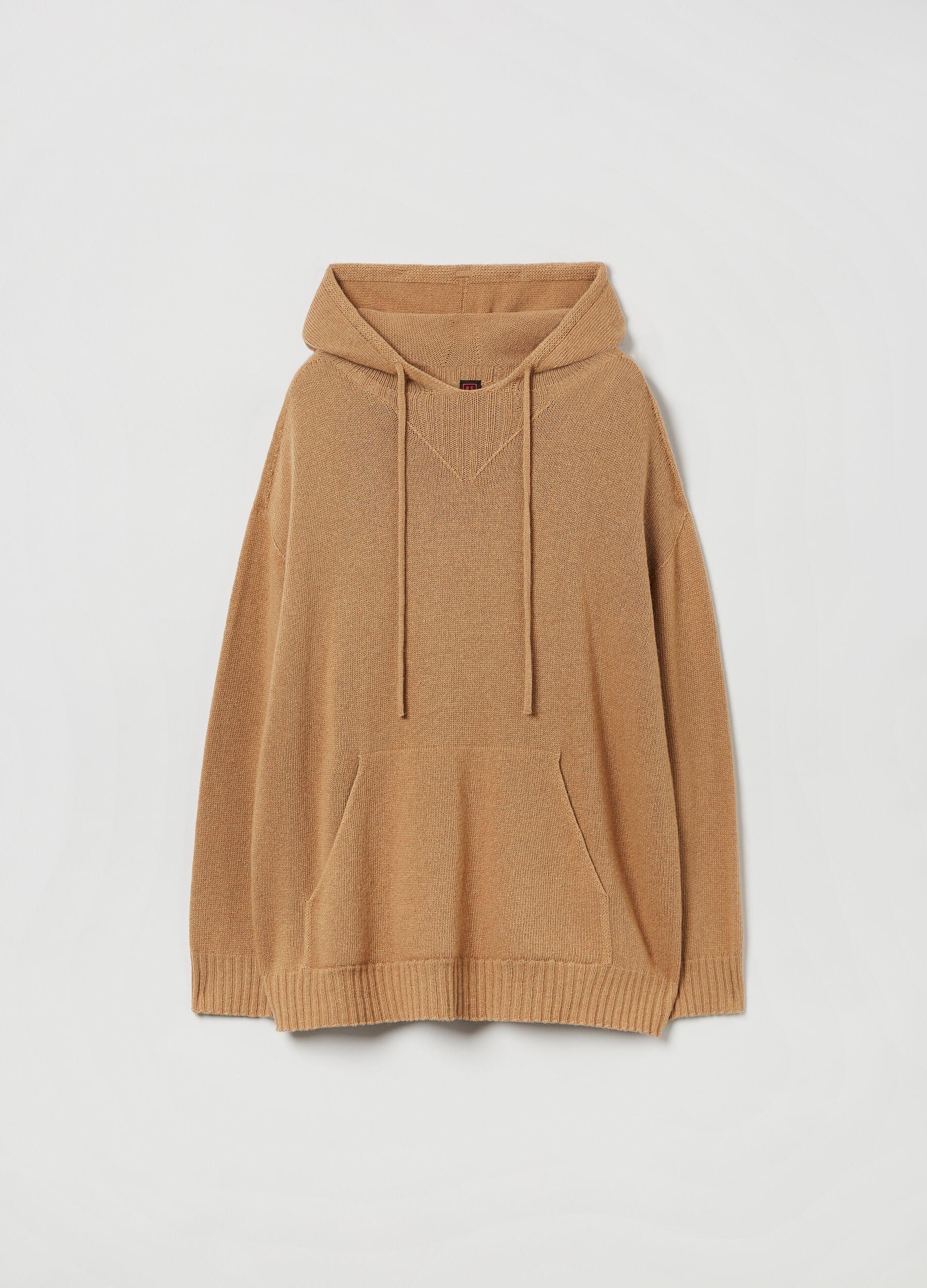 Pullover lana e cachemire con cappuccio Marrone