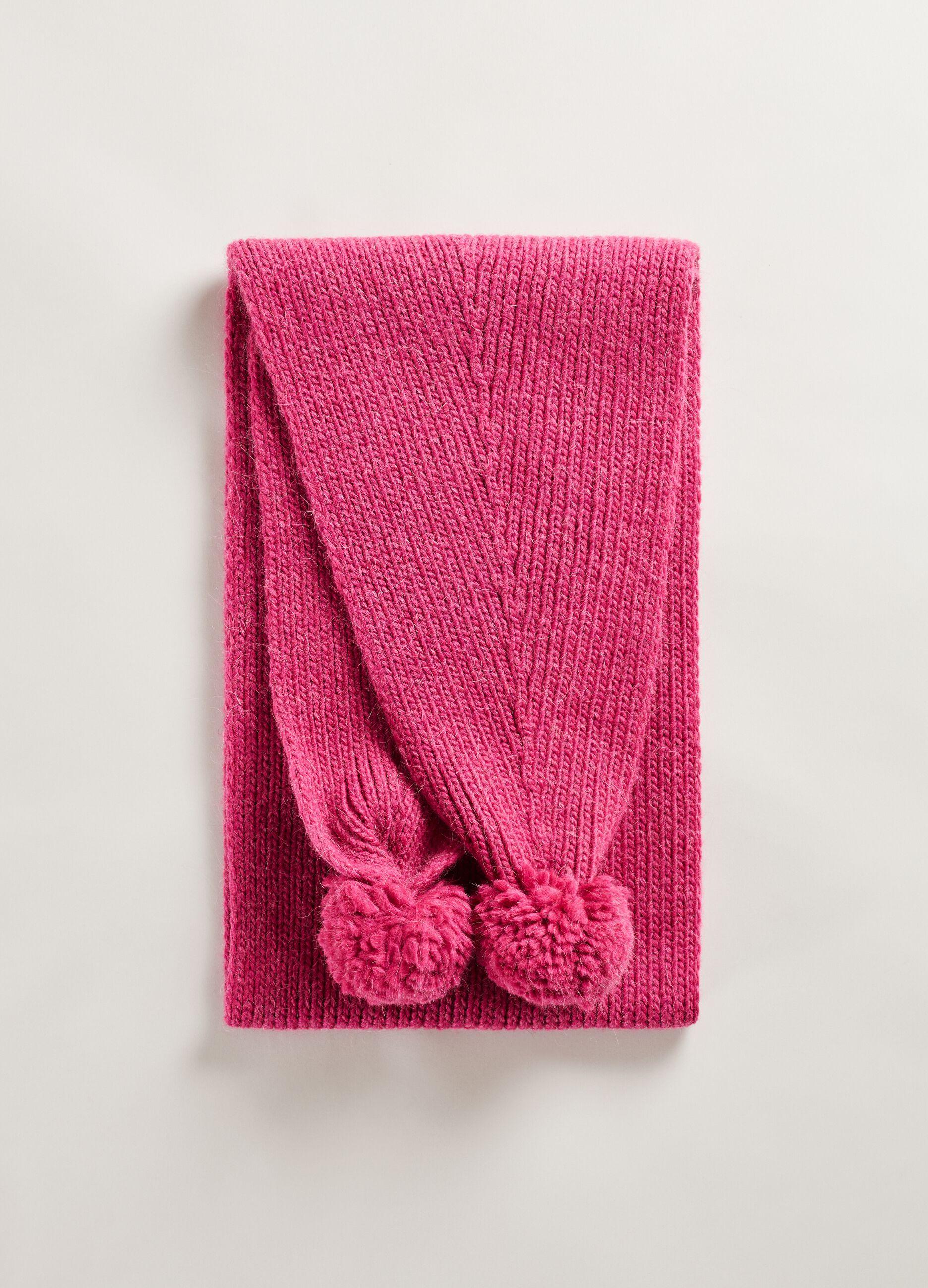 Maxi sciarpa con pon pon Rosa