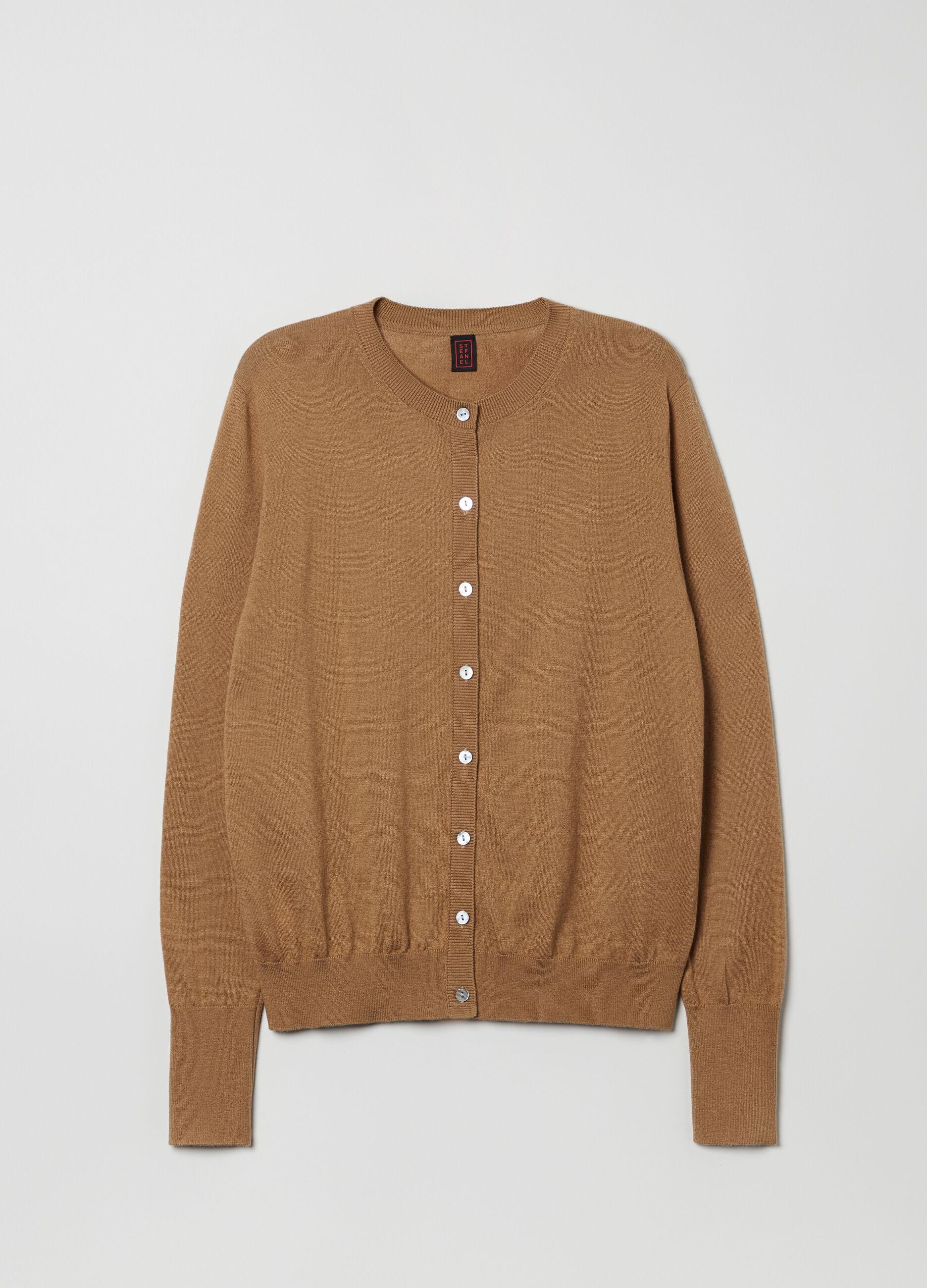 Cardigan con bottoni in lana e seta Marrone