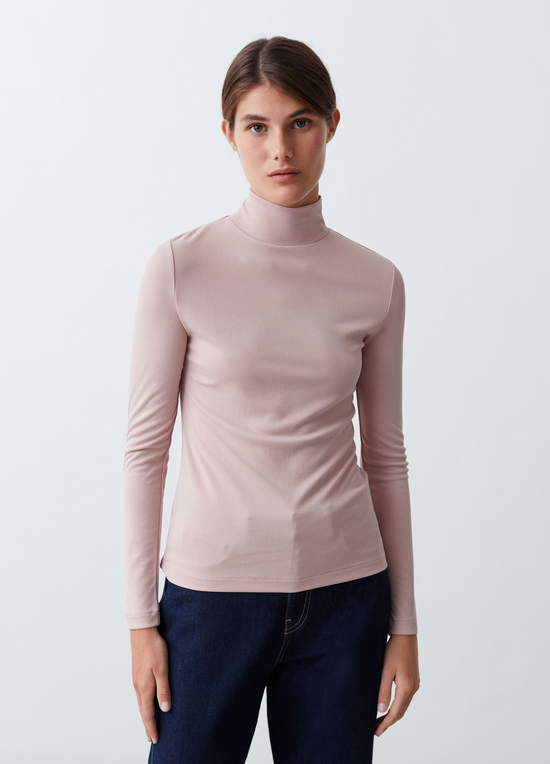 T-shirt collo alto a costina sottile Rosa