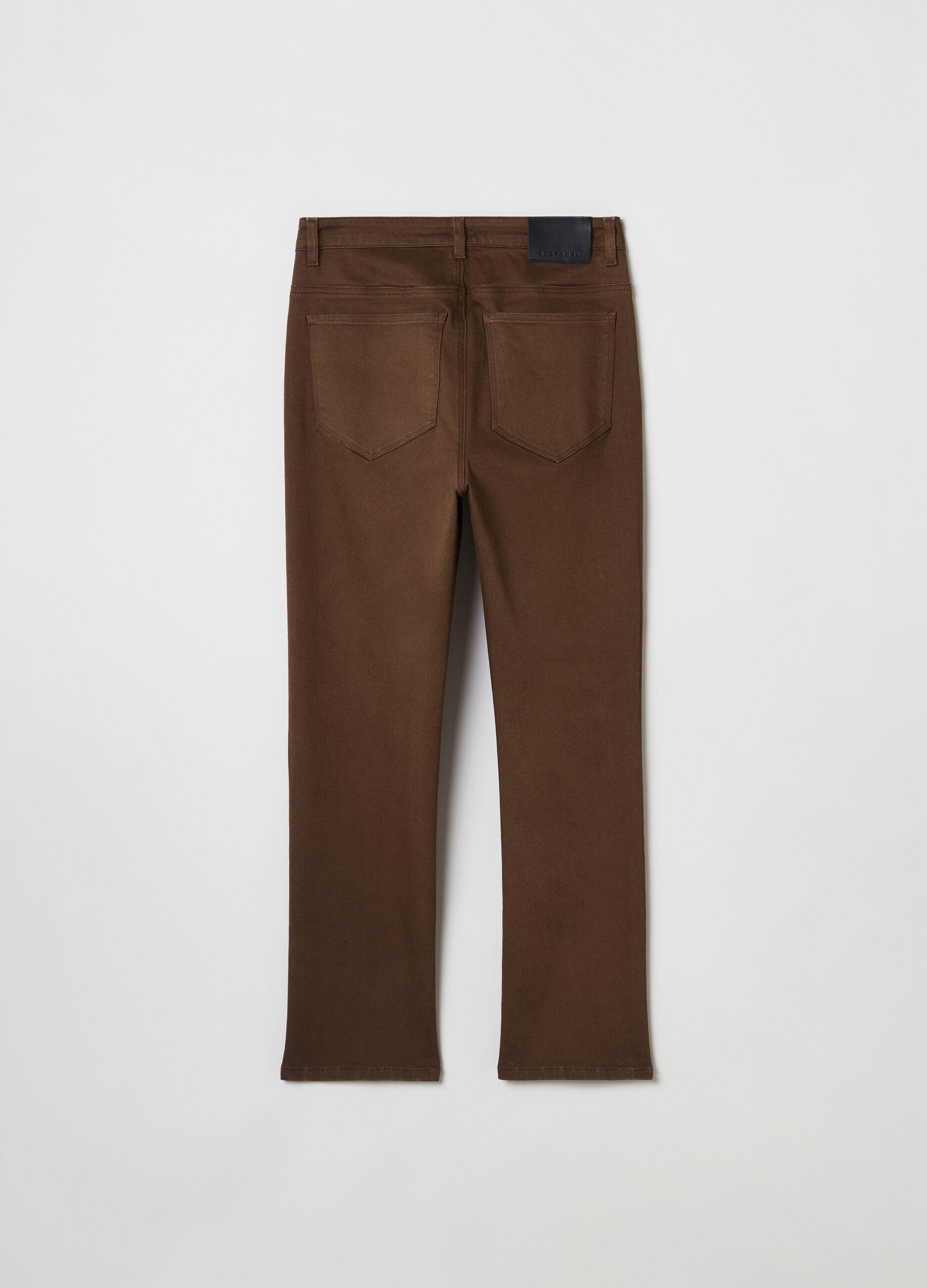 Pantalone in twill di cotone stretch Marrone